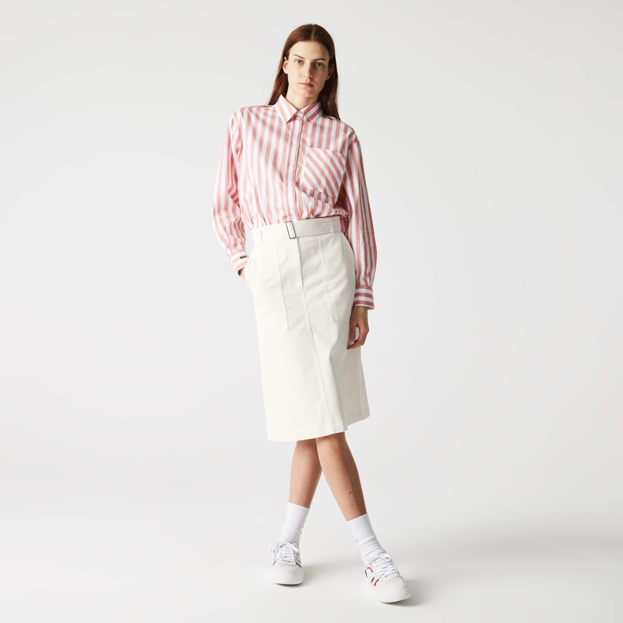 라코스테 스커트 Lacoste Women's High-Waisted Mid-Length Cotton Skirt,White 70V