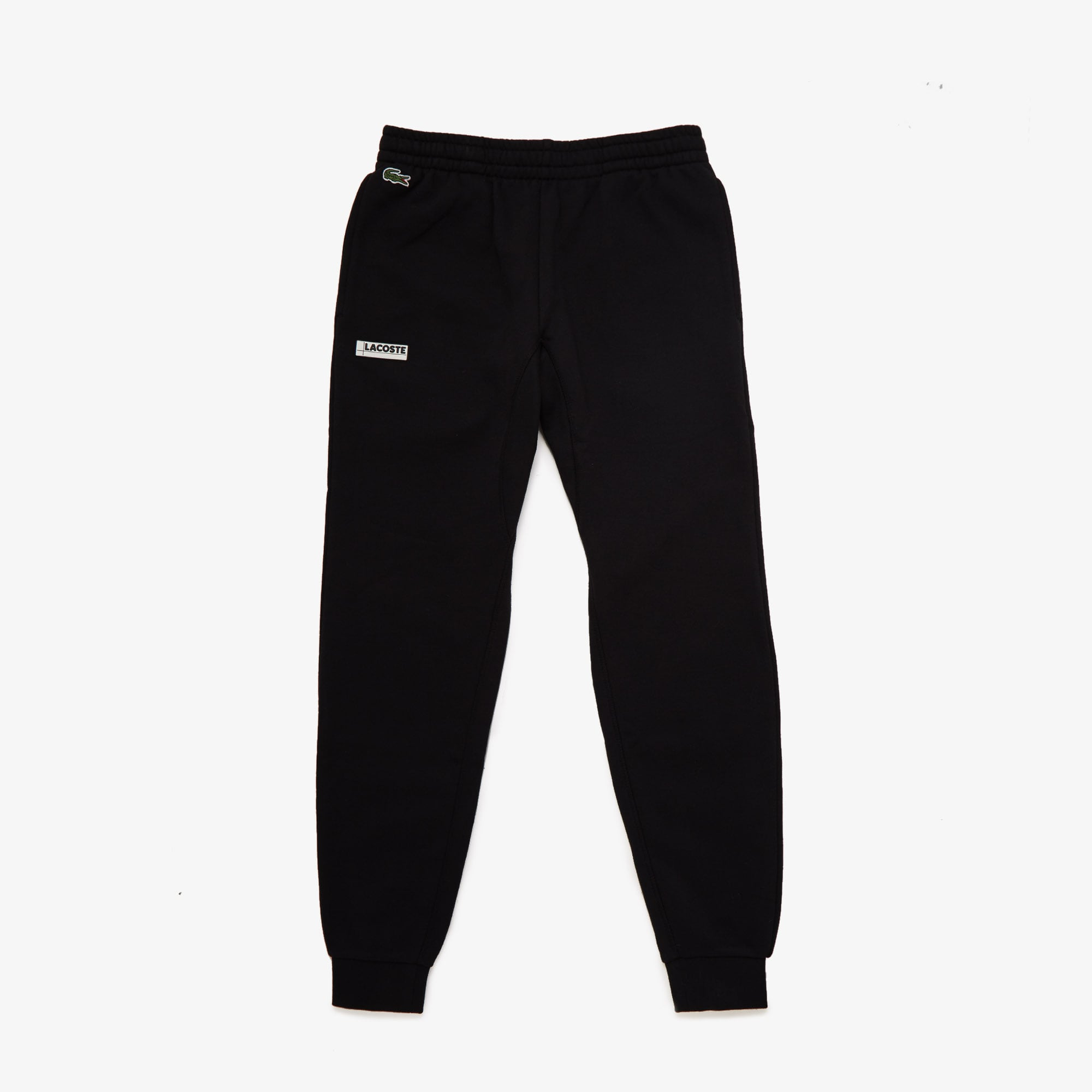 Mens 라코스테 Lacoste SPORT Badge Fleece Jogging Pants,Black / Grey Chine E89