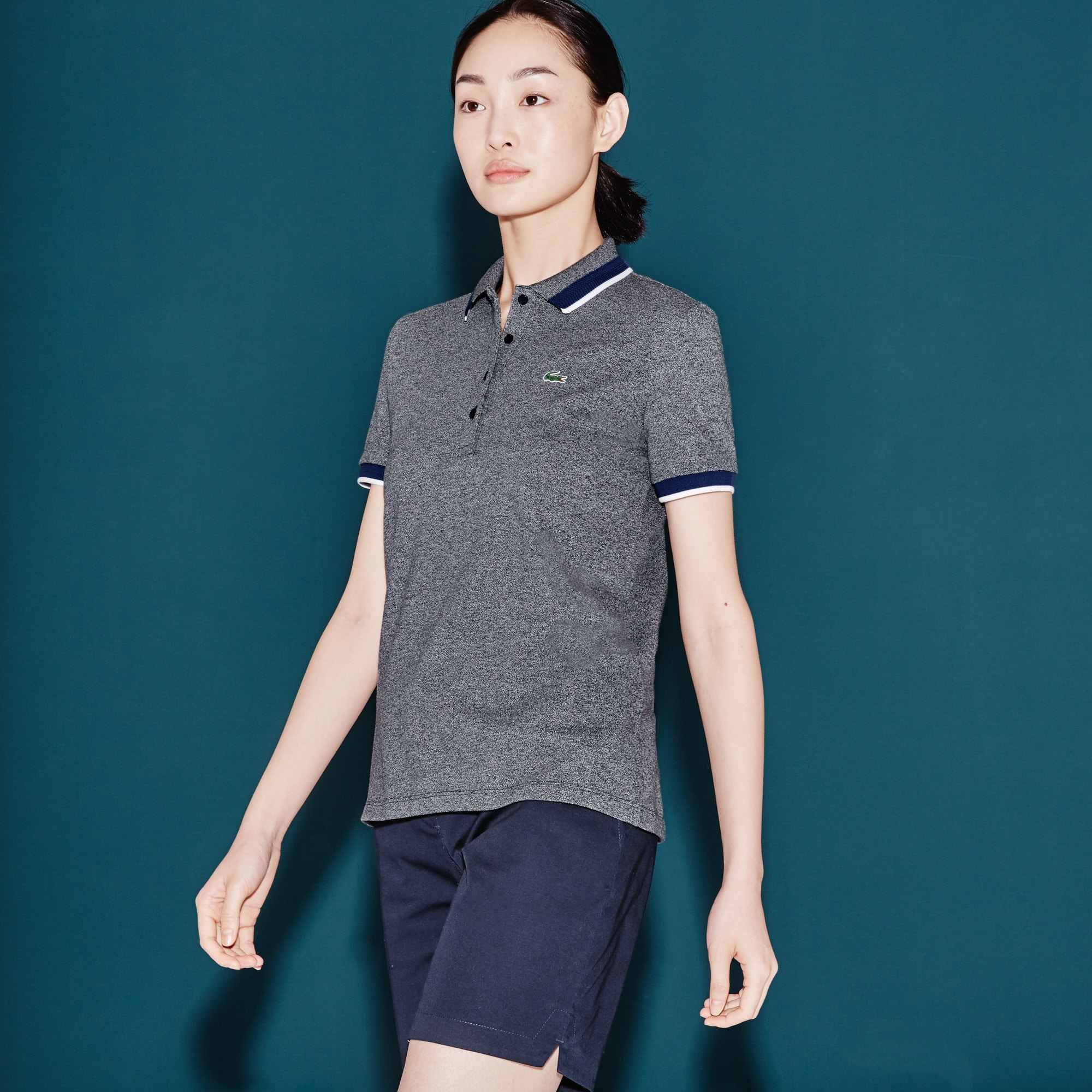 Women's  SPORT Golf Contrast Accent Stretch Mini Piqué Polo