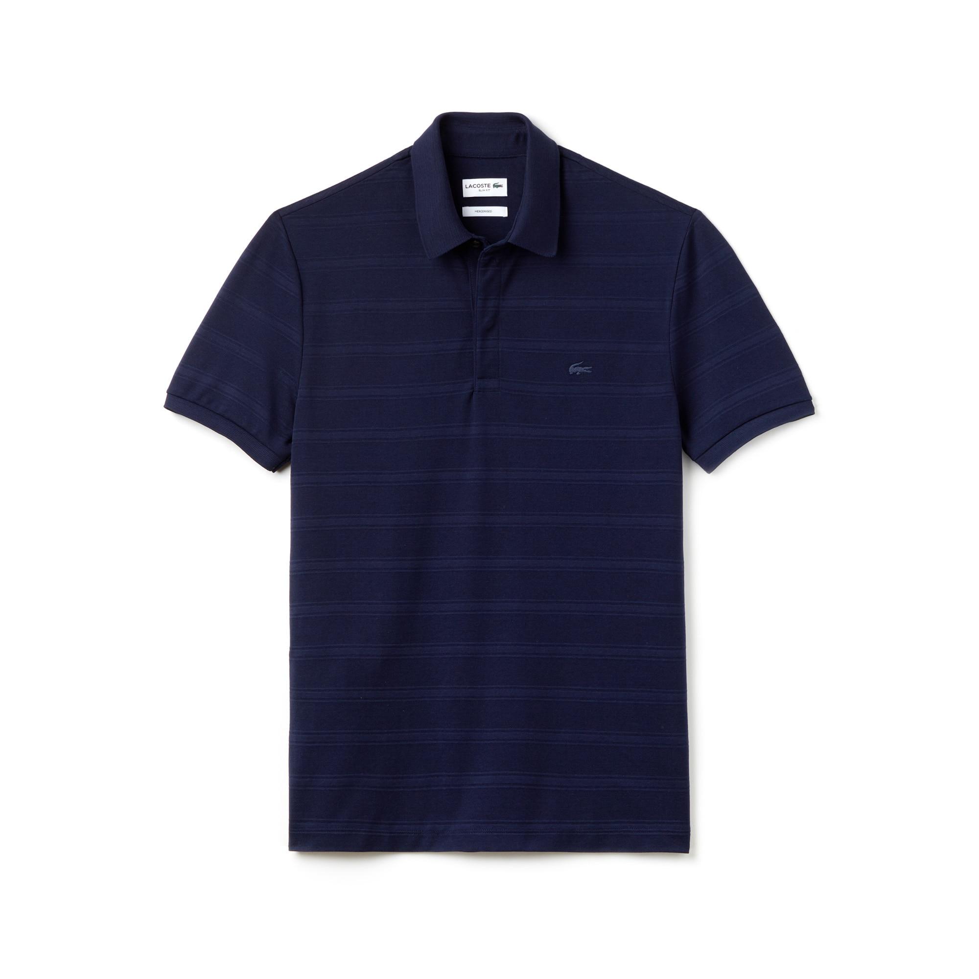 Men's Slim Fit Striped Cotton Piqué Polo