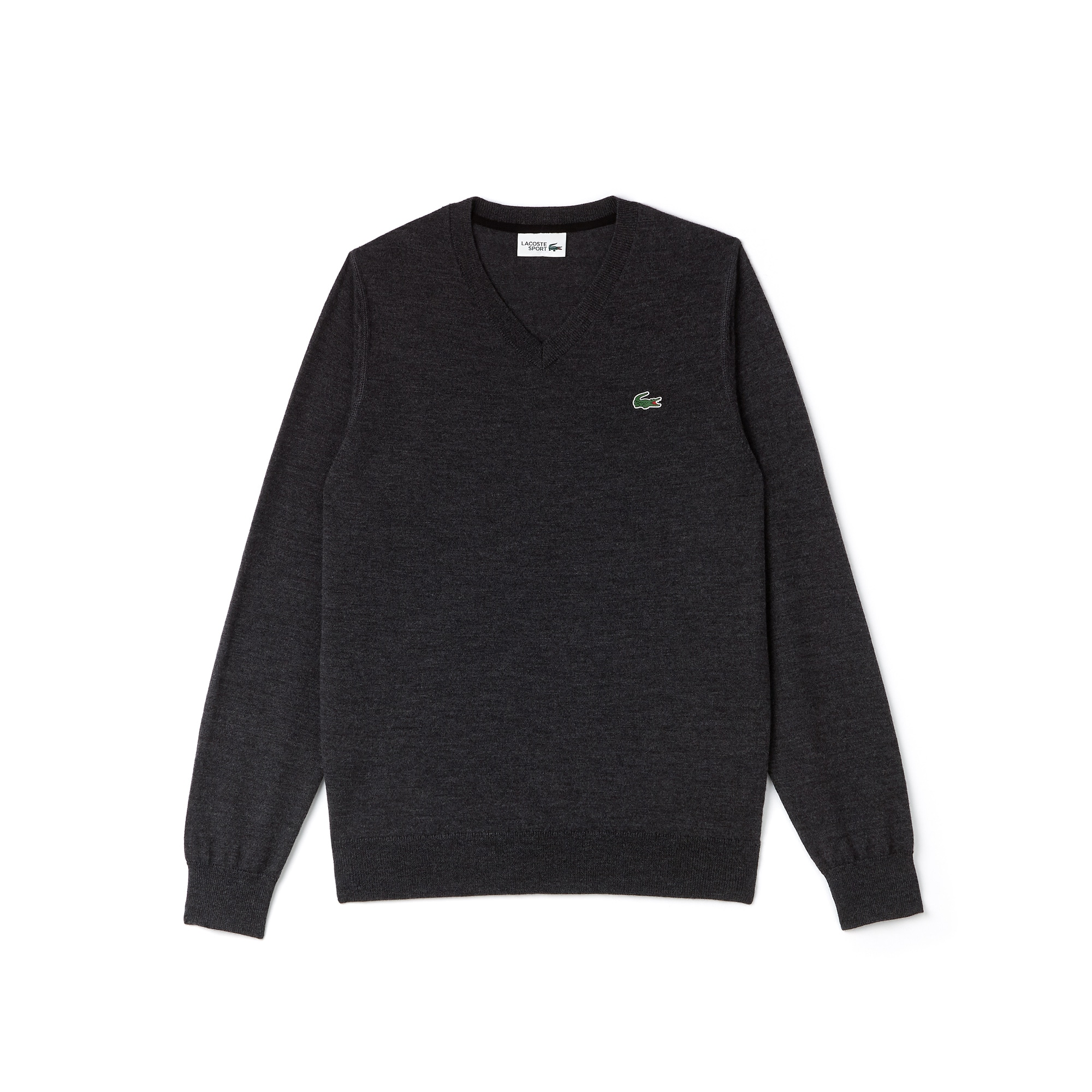 라코스테 Lacoste Mens SPORT V-Neck Wool Jersey Golf Sweater,PITCH/BLACK