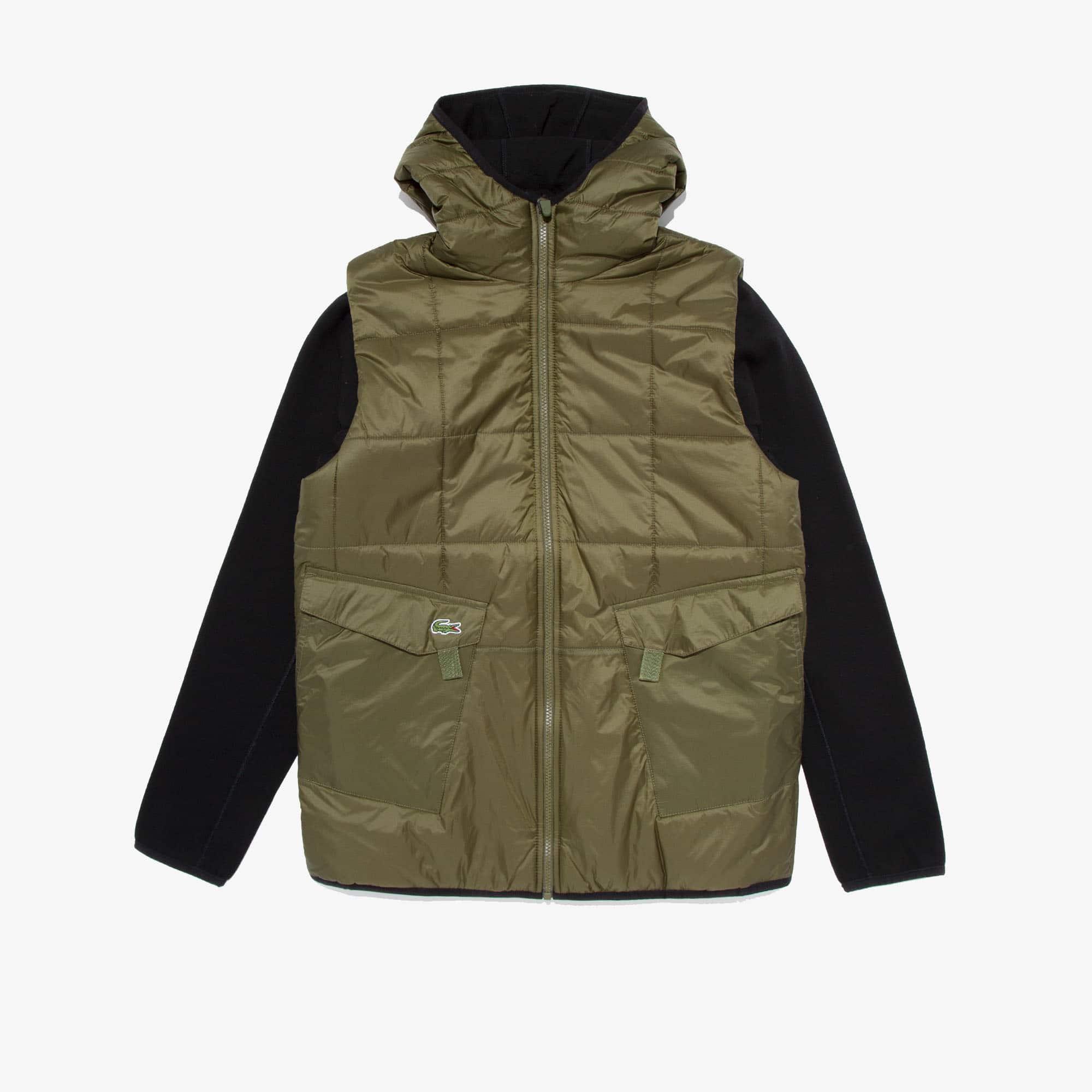 라코스테 스포츠 자켓 Lacoste Mens SPORT Hooded Reversible Dual-Tone Jacket,Khaki Green / Black - ZQ2