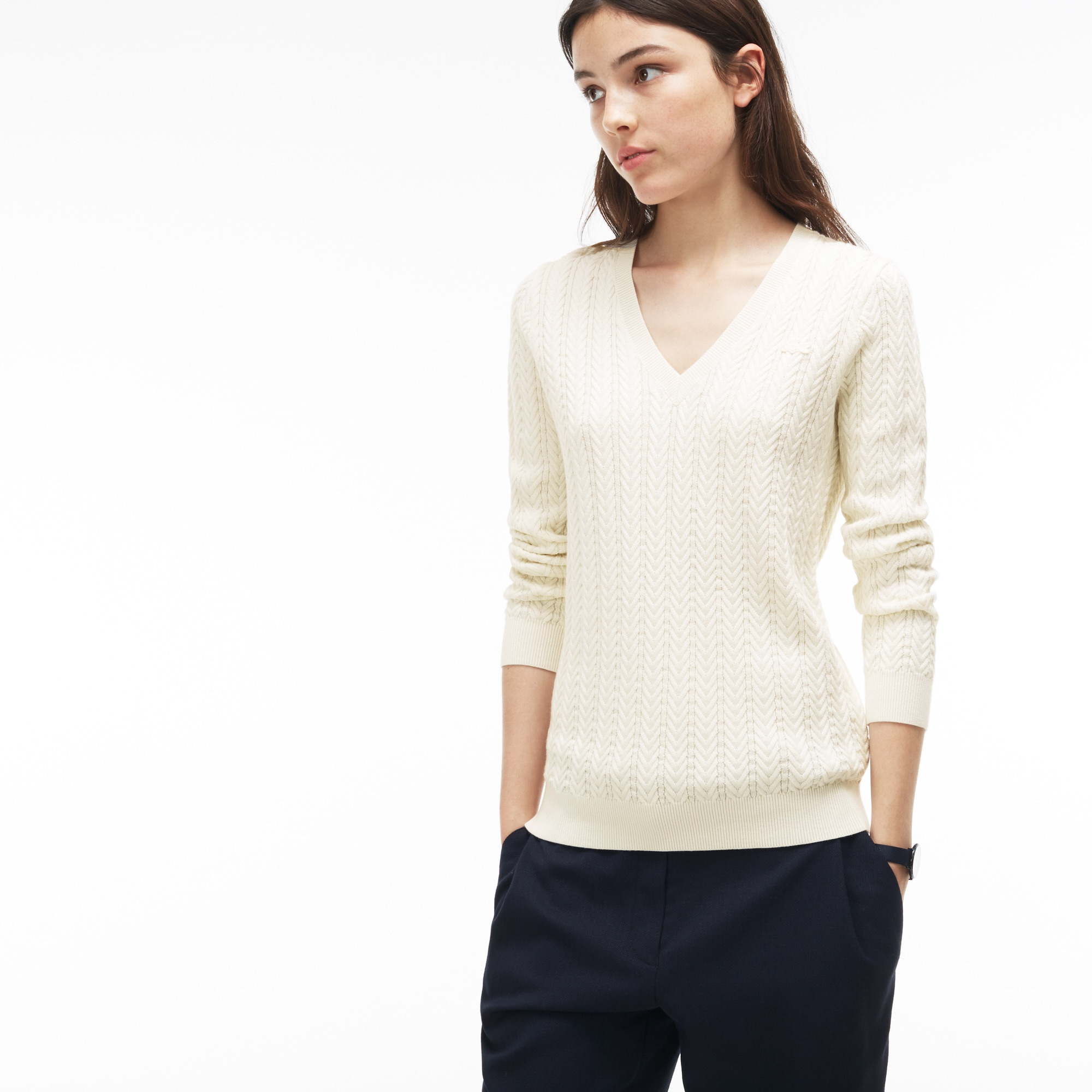 Women's V-neck Cable Knit Sweater