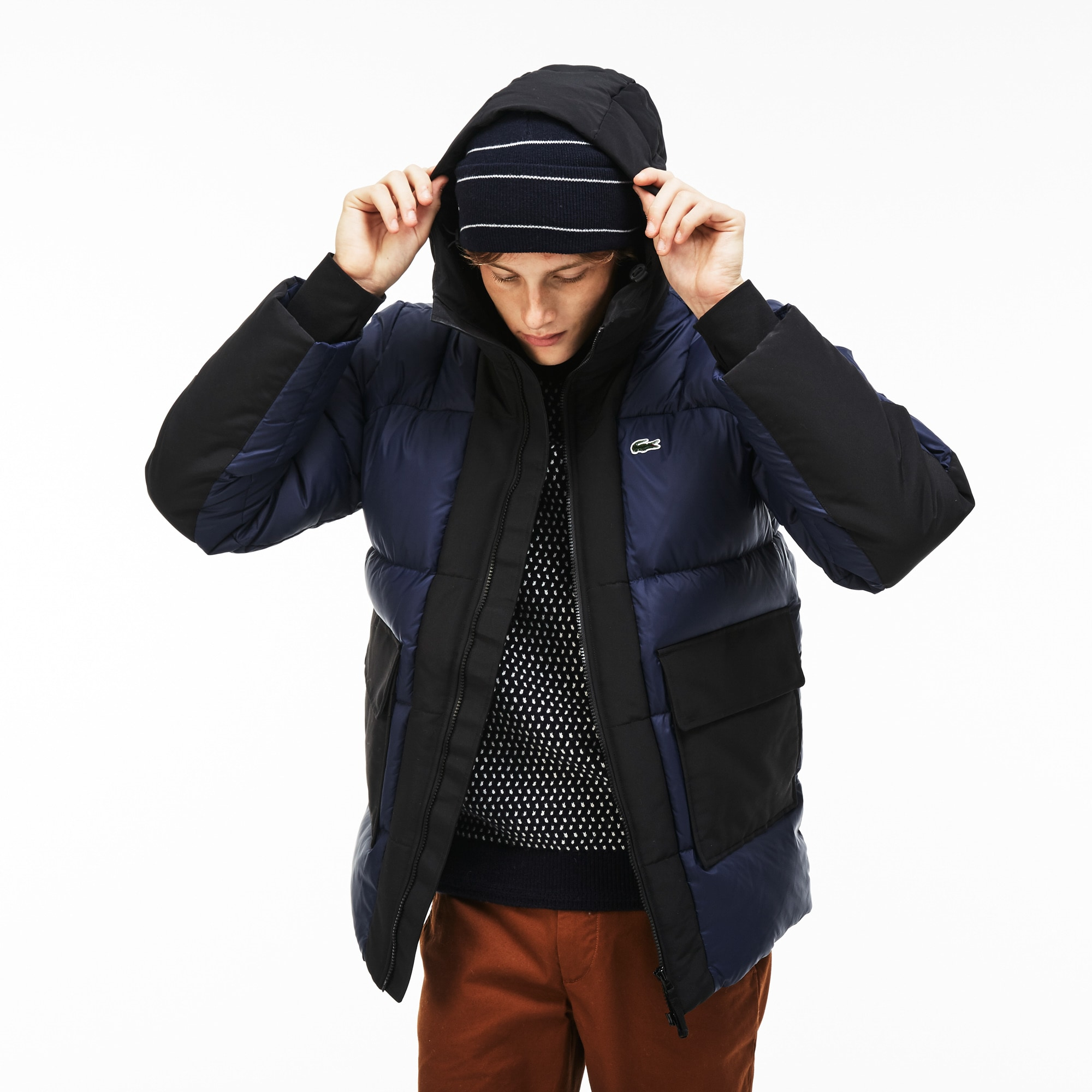 Men's  LIVE Hooded Colorblock Quilted Down Jacket