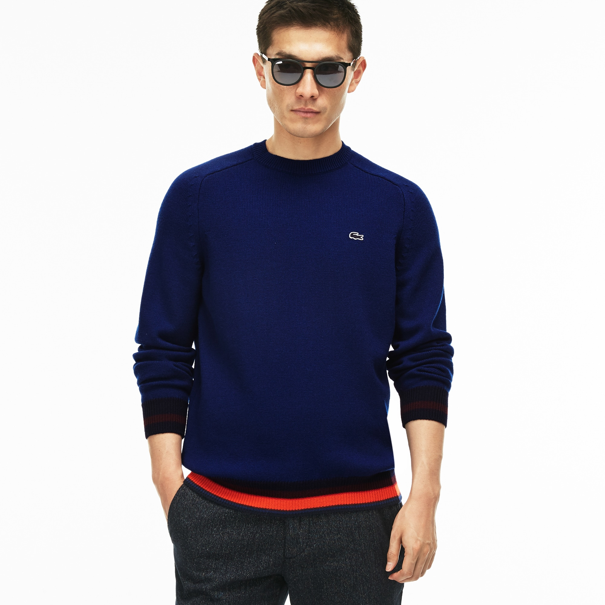 Men's Crew Neck Wool Jersey Sweater With Striped Accents