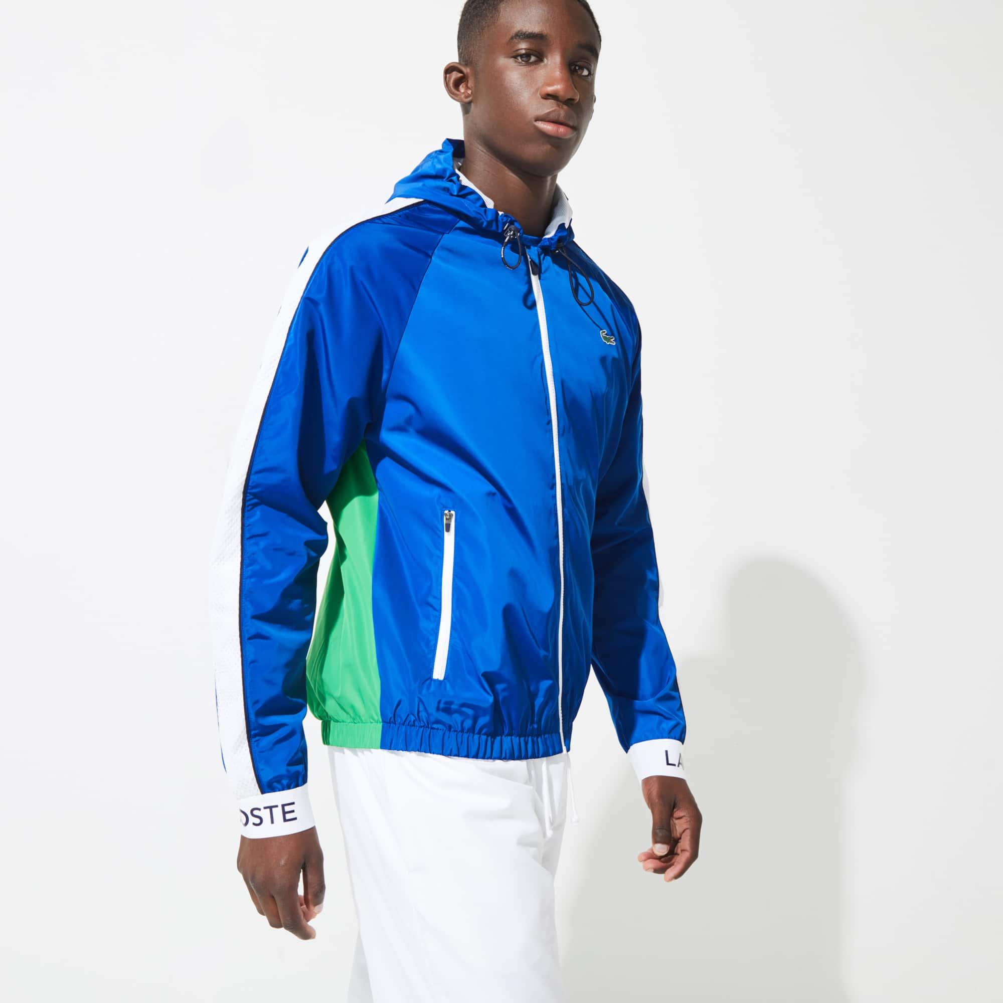 라코스테 Lacoste Men's SPORT Lightweight Colorblock Tennis Windbreaker,Blue / Green / White / Navy Blue 32C