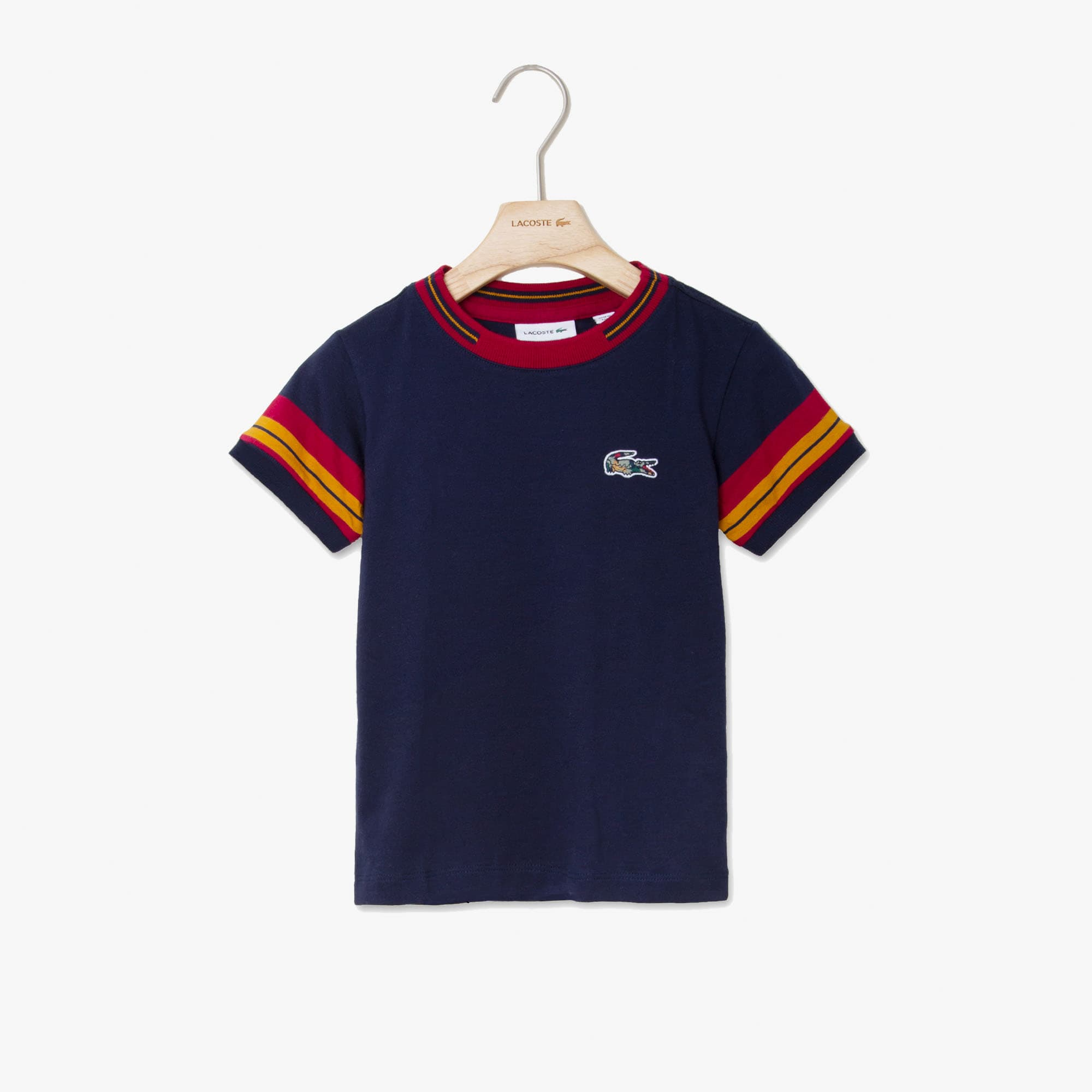 Boys' Crewneck Contrast-Stripe Cotton T-Shirt