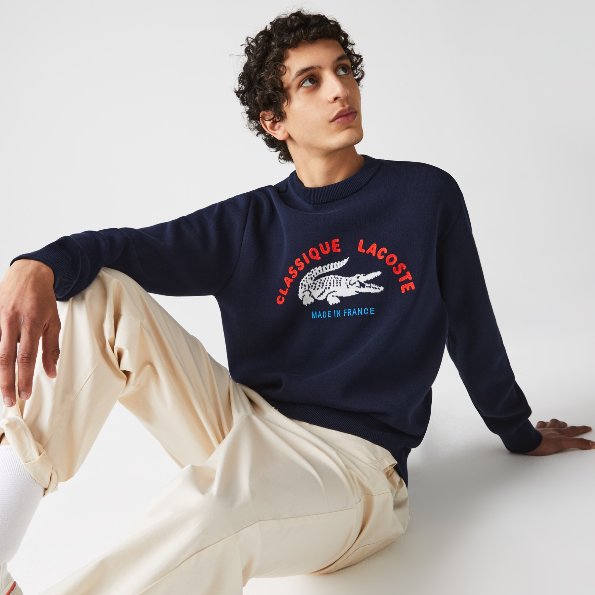 라코스테 Lacoste Men's Made In France Crew Neck Embroidered Stretch Cotton Sweater