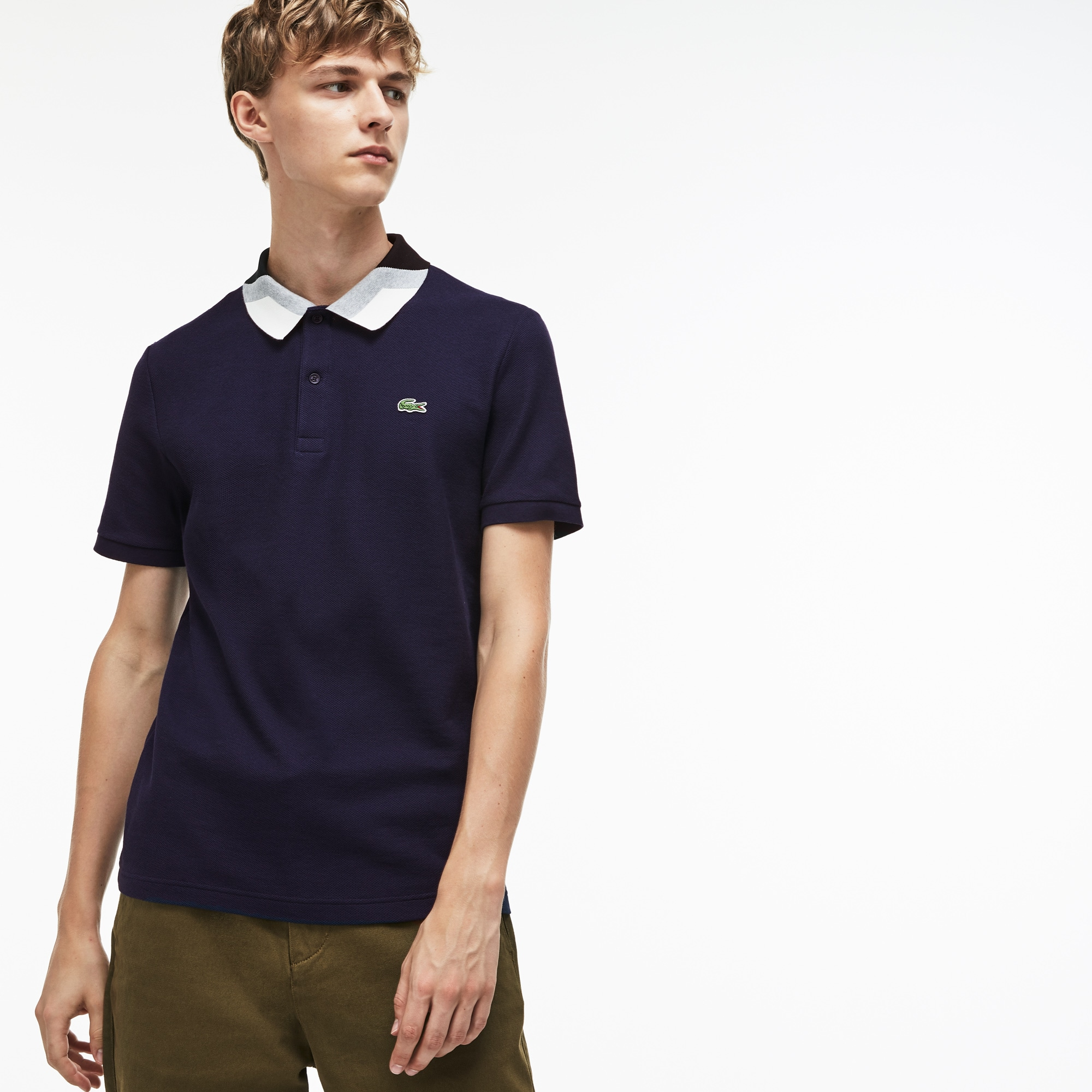 bd5f6ec0e Men's Lacoste Slim Fit Colourblock Striped Knop Piqué Polo Shirt | LACOSTE