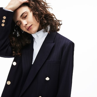 라코스테 더블 블레이저 자켓 Lacoste Womens Oversized Double-Breasted Blazer,Navy Blue