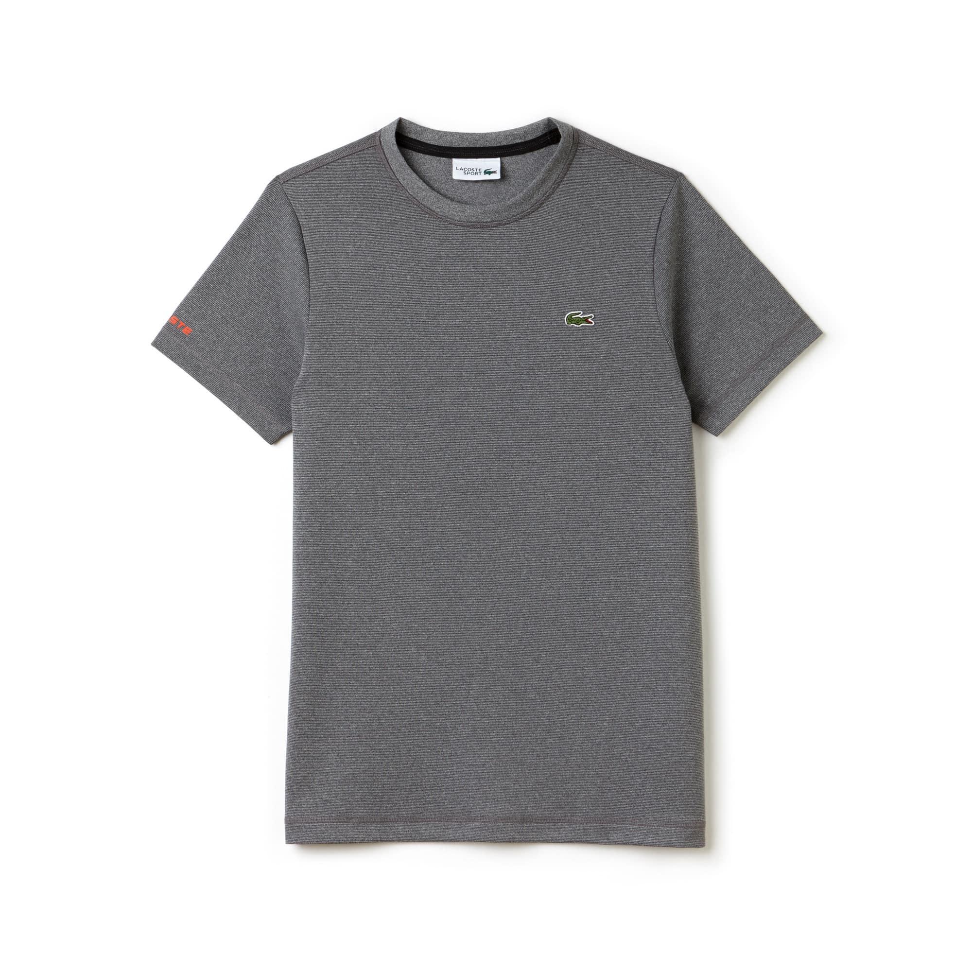 라코스테 Lacoste Mens SPORT Tennis Micro-Striped Jersey T-shirt,SILVER CHINE/BLACK-MEXICO