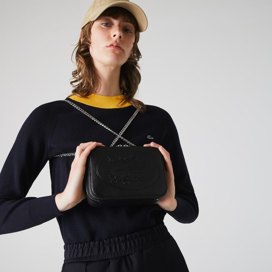 Women's Croco Crew Grained Leather Zip Shoulder Bag