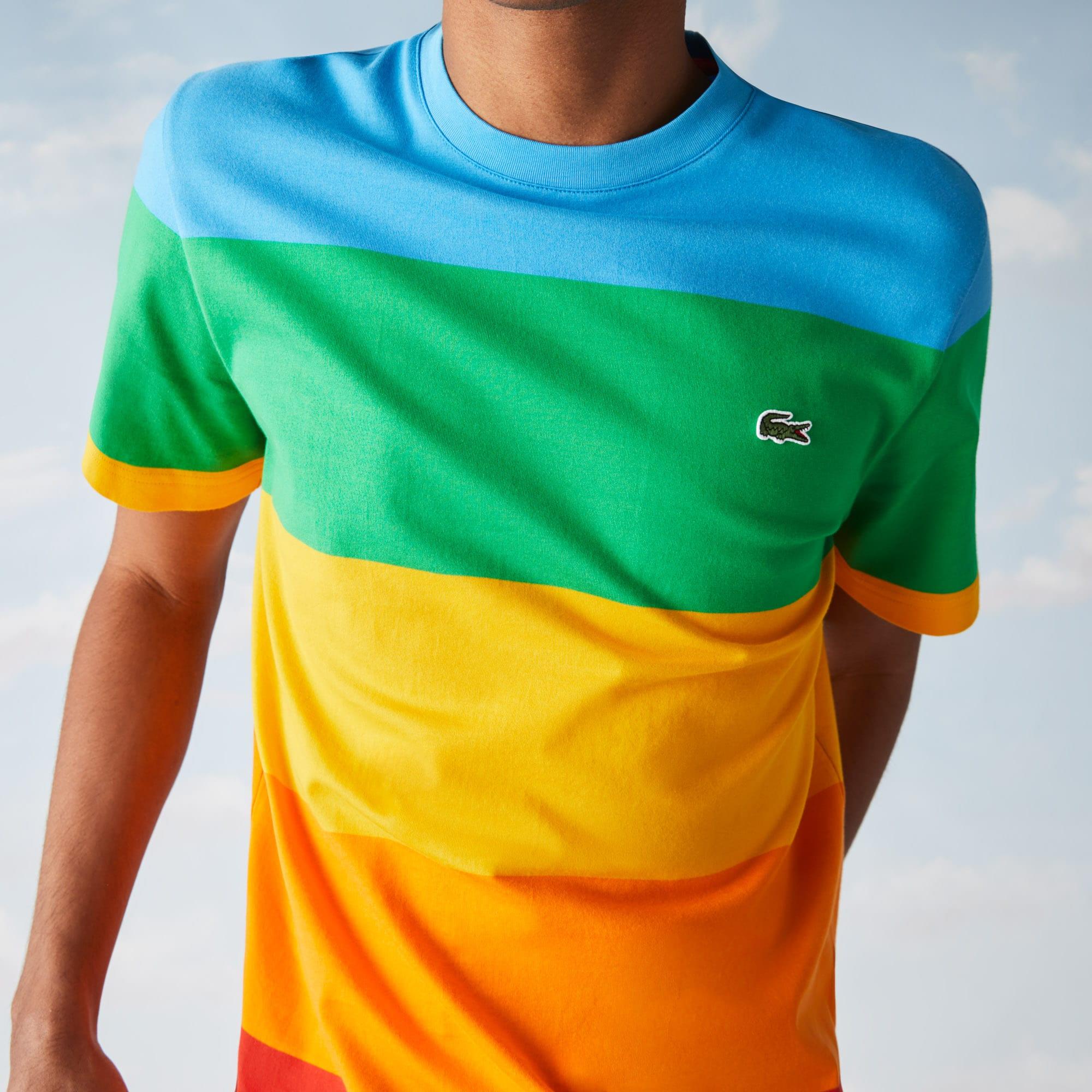 Men's Polaroid Collaboration Crew Neck Color Striped T-shirt