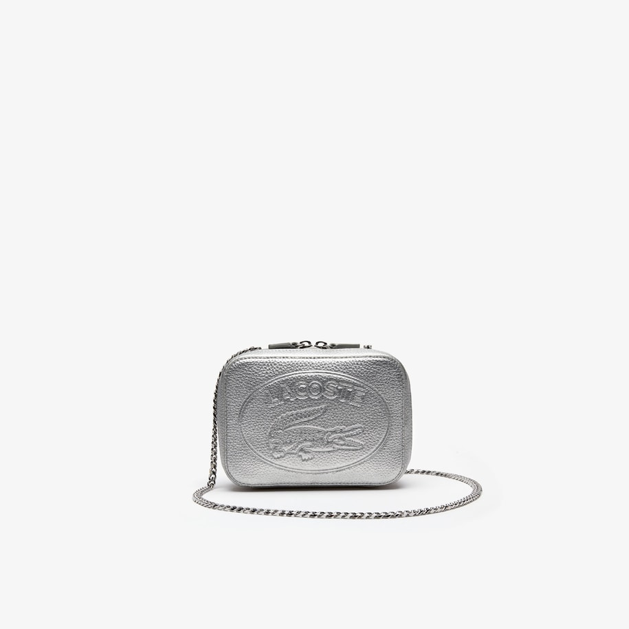 라코스테 악어 로고 체인 숄더백 - 실버 Lacoste Womens Croco Crew Grained Leather Zip Shoulder Bag,SILVER - C79