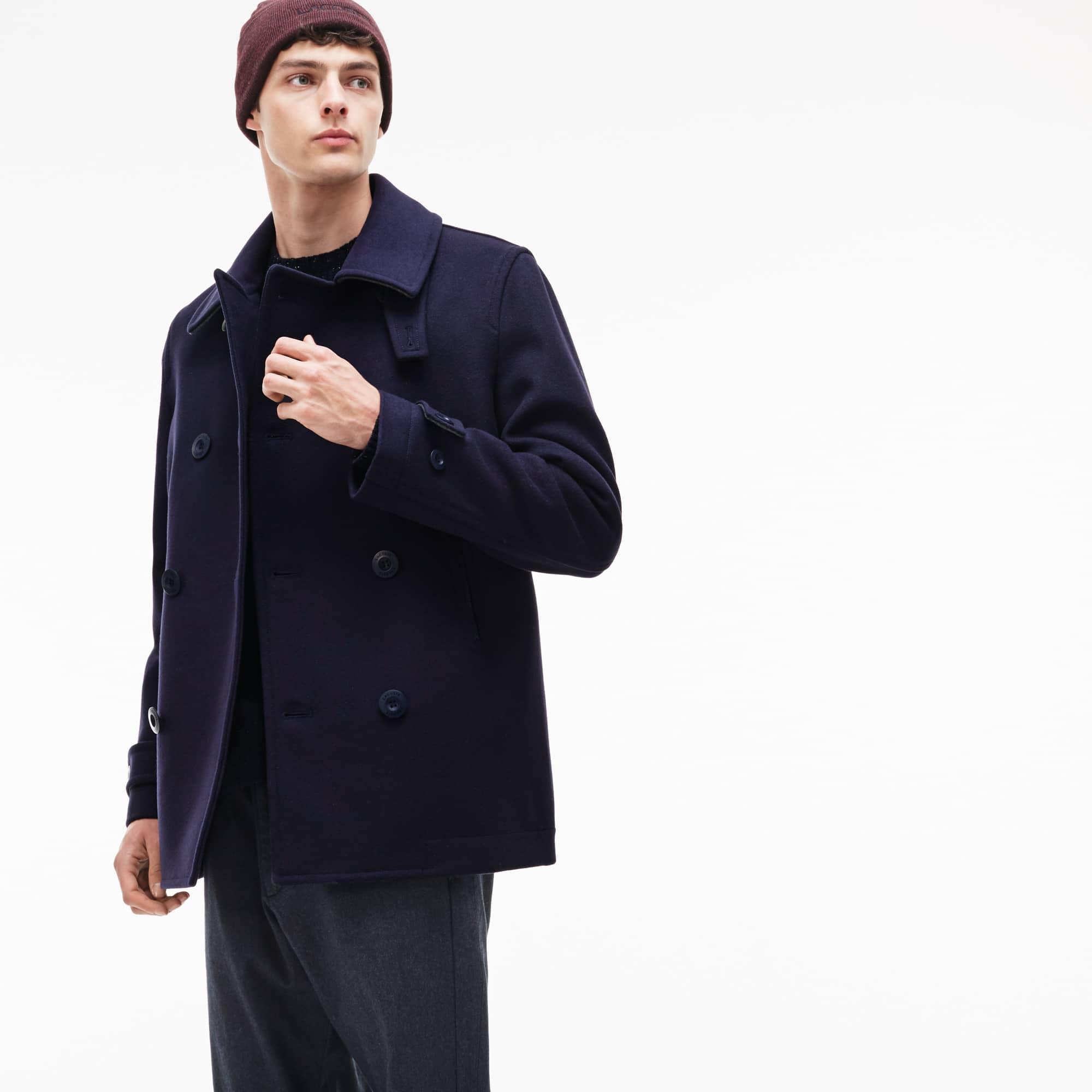 Men's Buttoned Wool Broadcloth Pea Coat