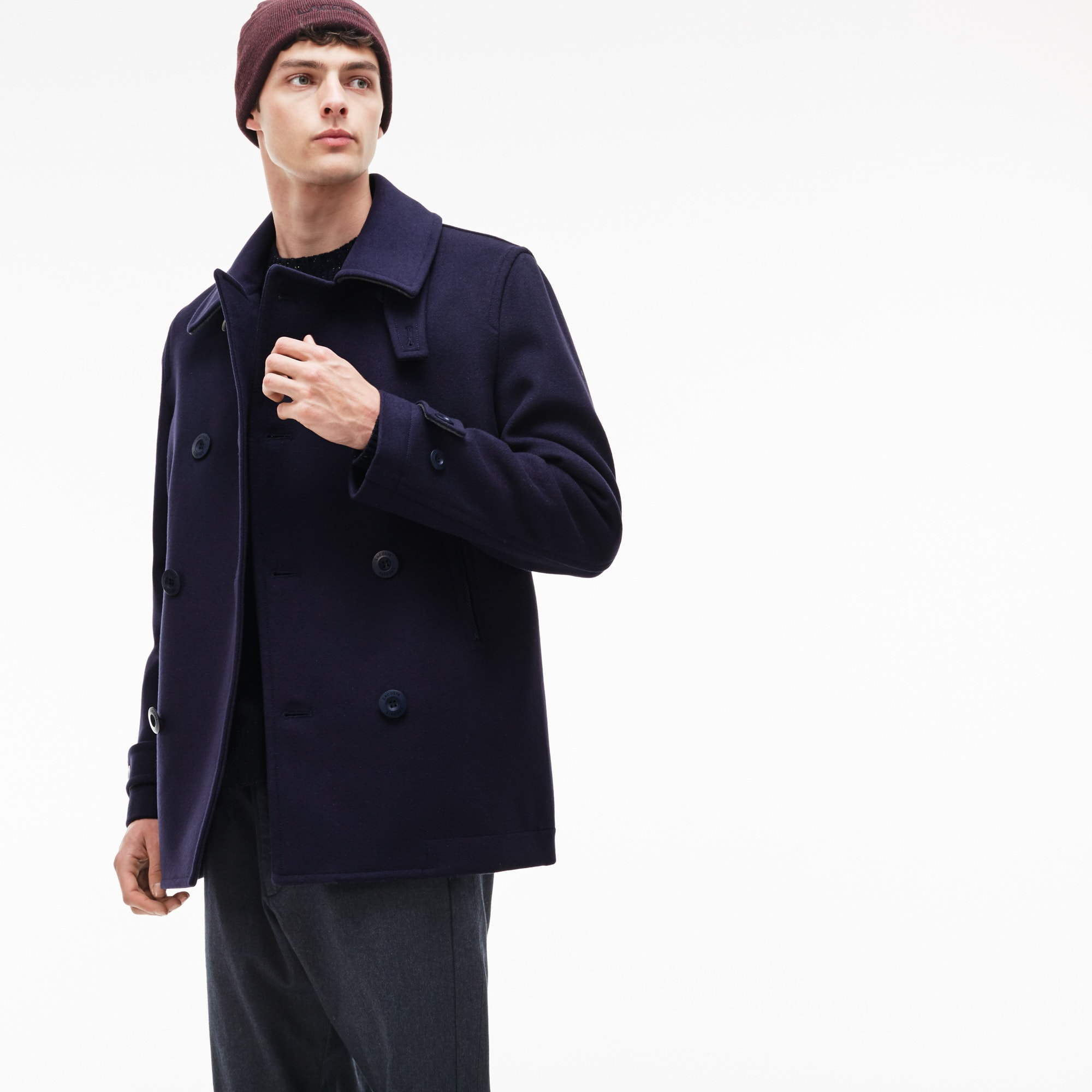 Men's Buttoned Wool Broadcloth Pea Coat
