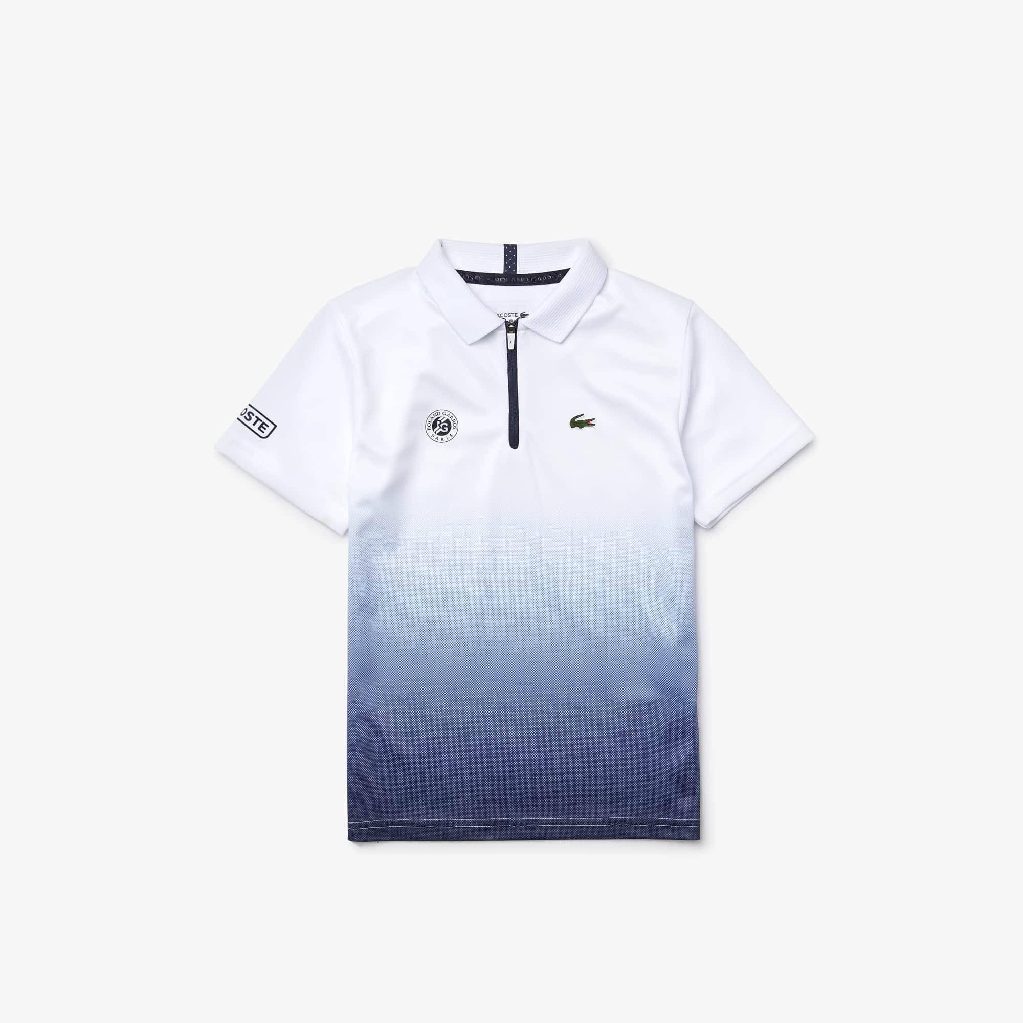 라코스테 Lacoste Boys SPORT Roland Garros Zip-Up Polo Shirt,White / Navy Blue • RHG