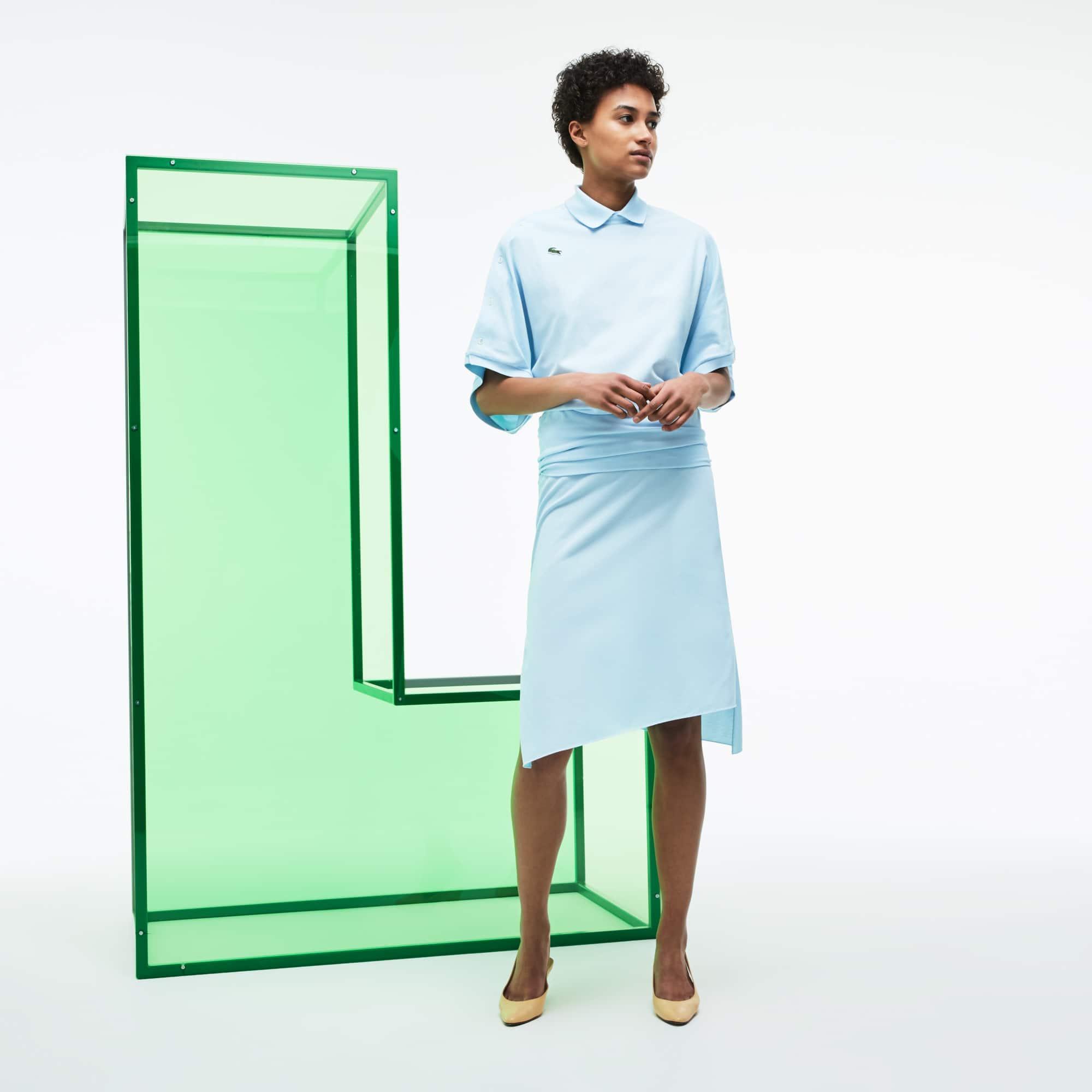 Women's Fashion Show Asymmetrical Twisted Cotton Piqué Skirt