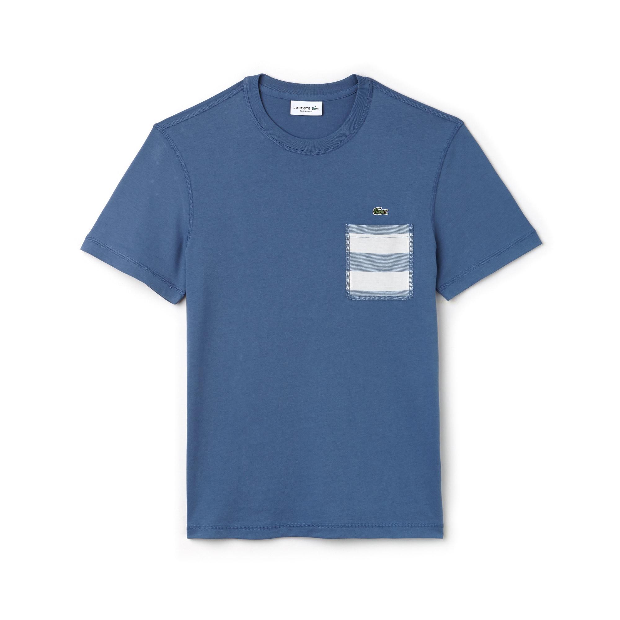 Men's Striped Pocket Cotton T-Shirt
