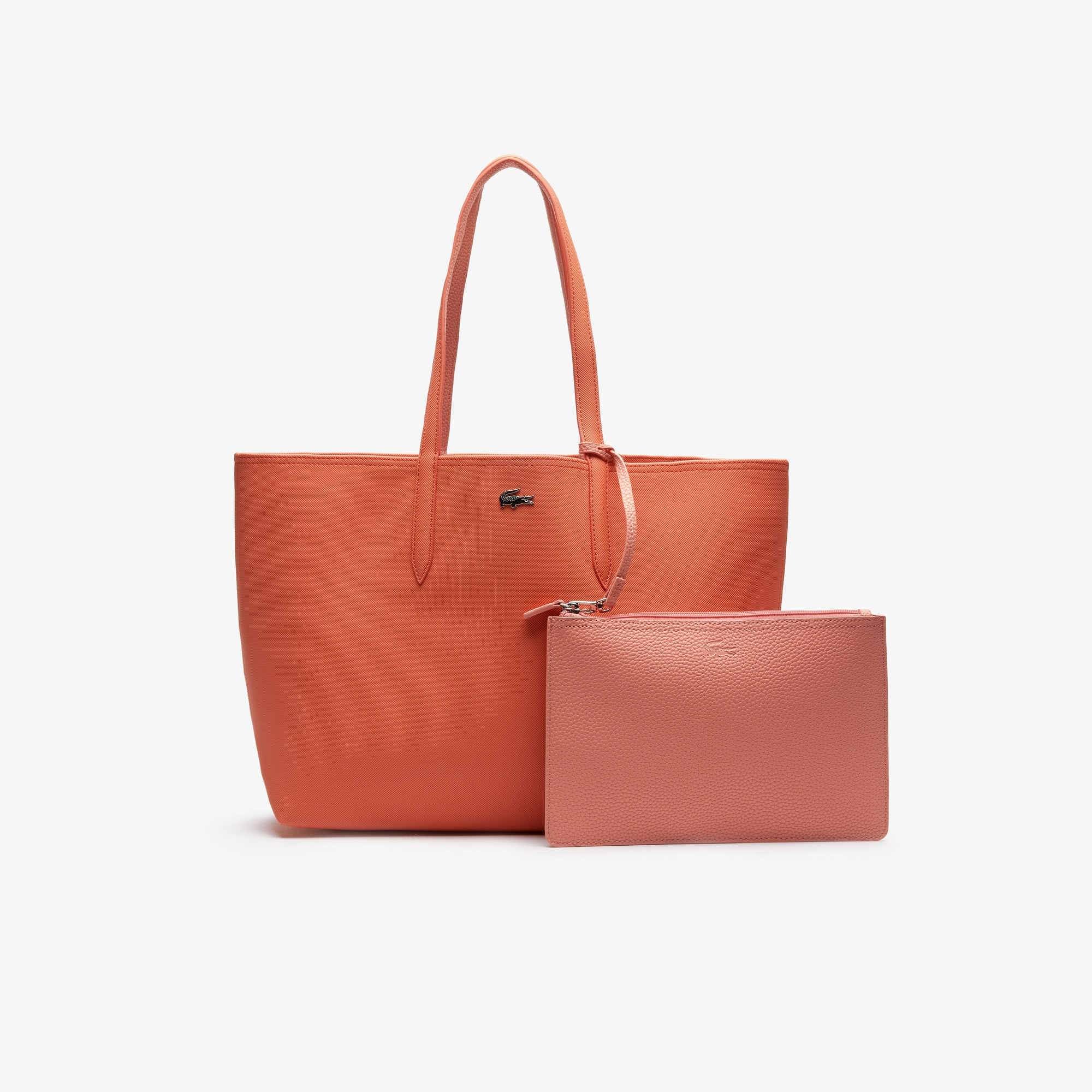 라코스테 Lacoste Womens Anna Reversible Bicolor Tote Bag,coral lobster bisque