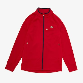 라코스테 스포츠 트레이닝복 상의 Lacoste Mens SPORT Breathable UV Protection Zip Sweatshirt,Red / Red / White / Navy Blue