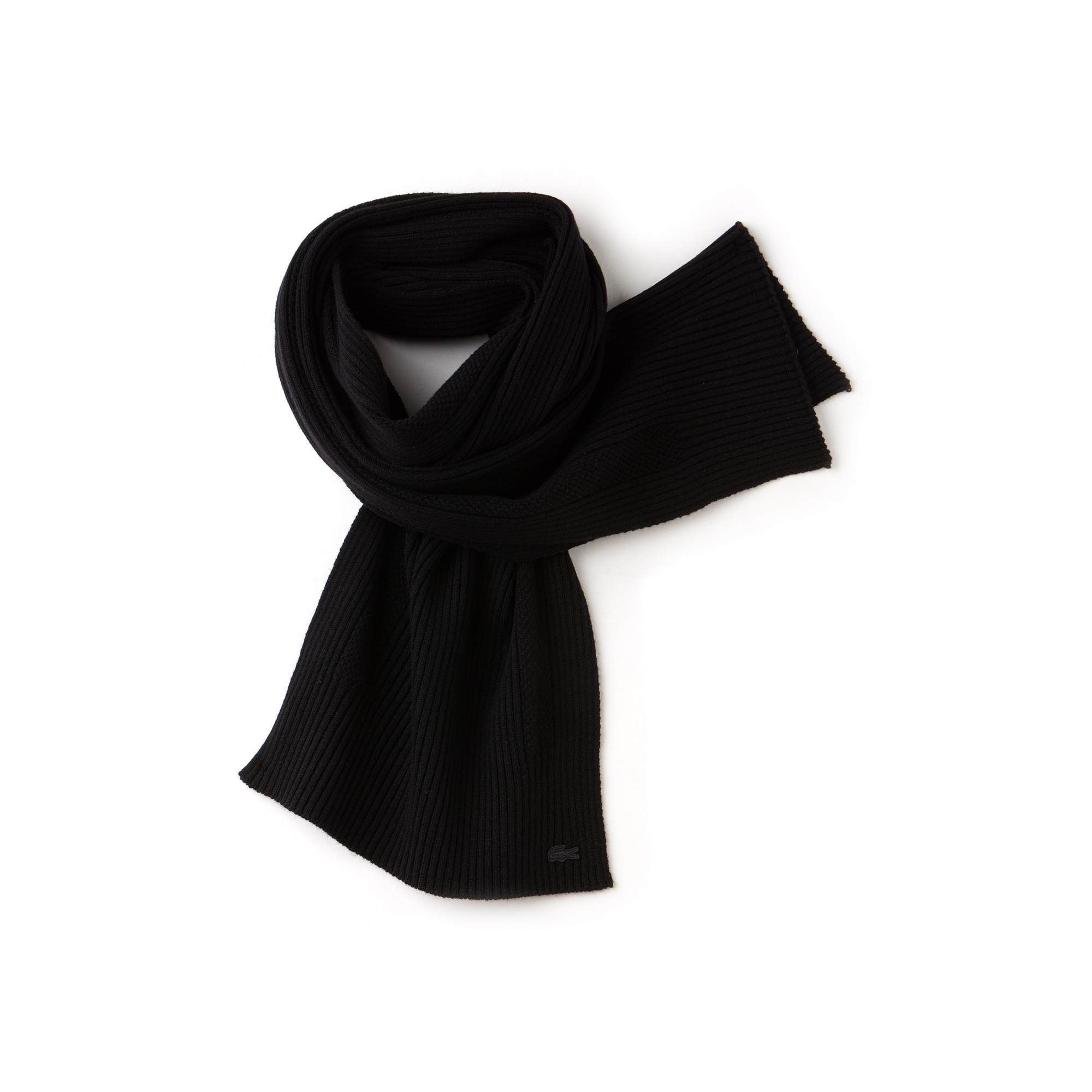 라코스테 Lacoste Mens Cashmere And Wool Scarf,black