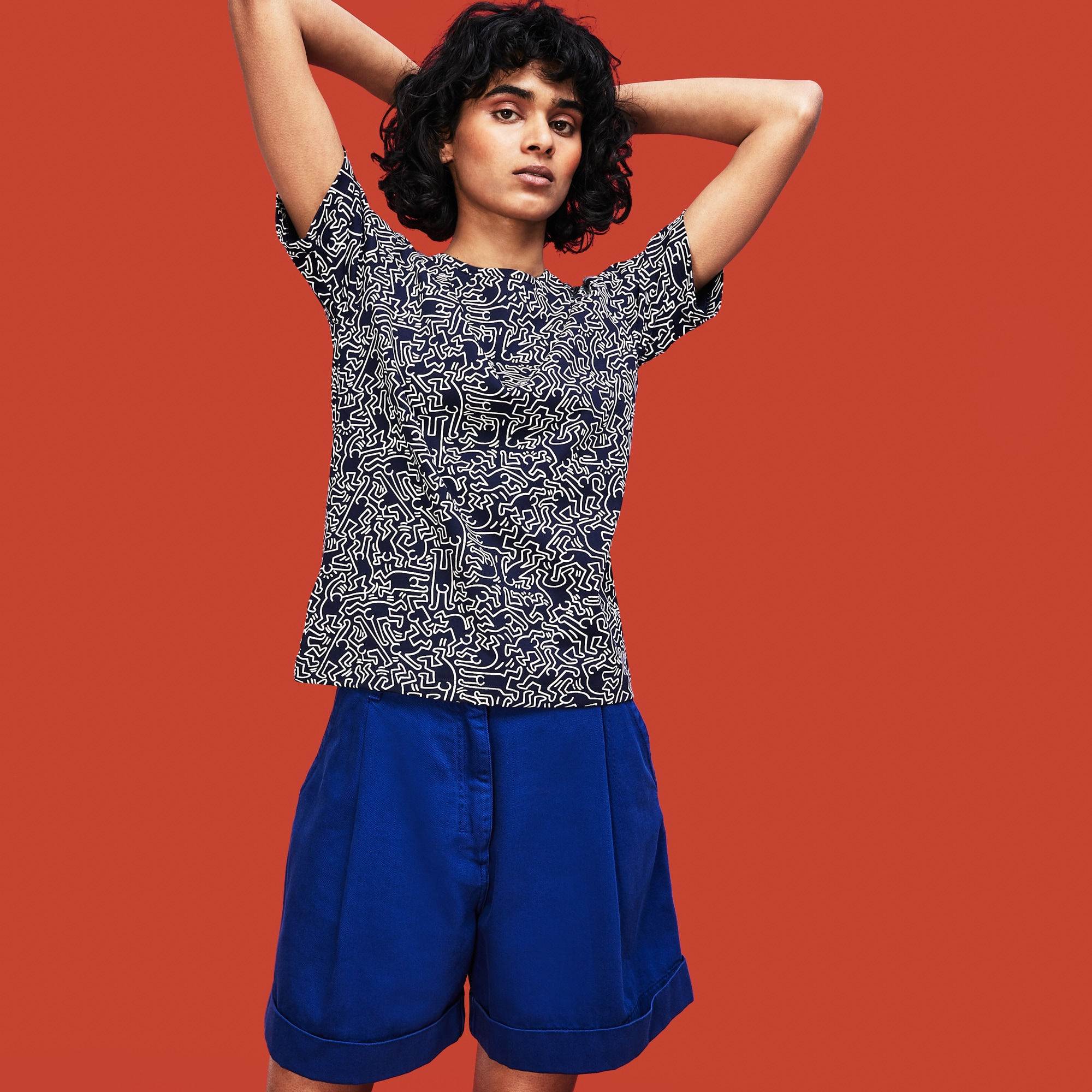 8f37fb29c4d Women's Keith Haring Print Crew Neck Jersey T-shirt | LACOSTE