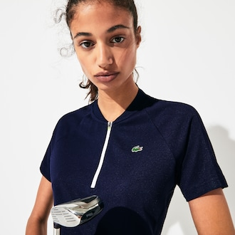라코스테 스포츠 우먼 크루넥 골프 롤로 셔츠 Lacoste Womens SPORT Zip Crewneck Golf Polo,Navy Blue / White / Flashy Yellow