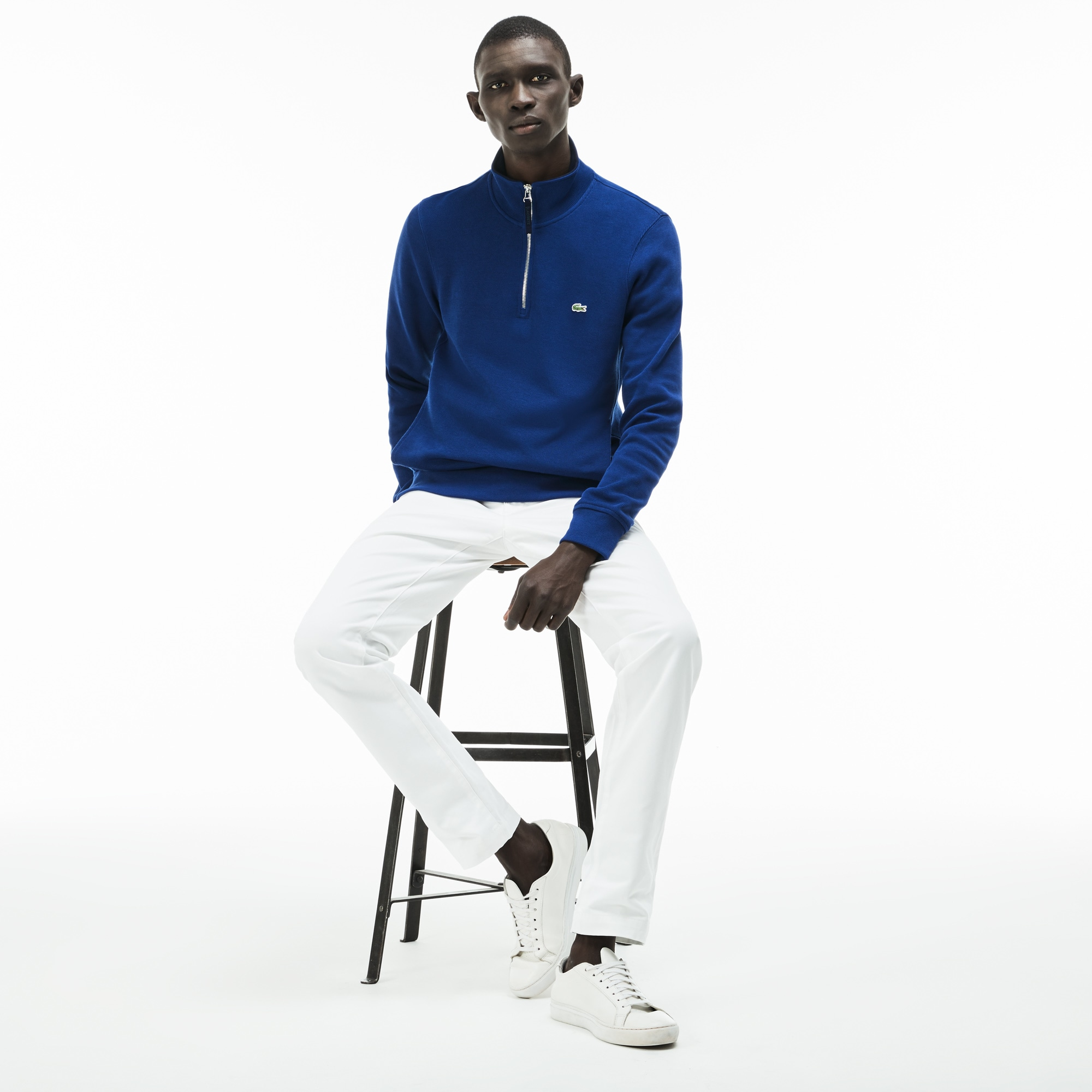 Men's Zip Stand-Up Collar Ribbed Sweatshirt