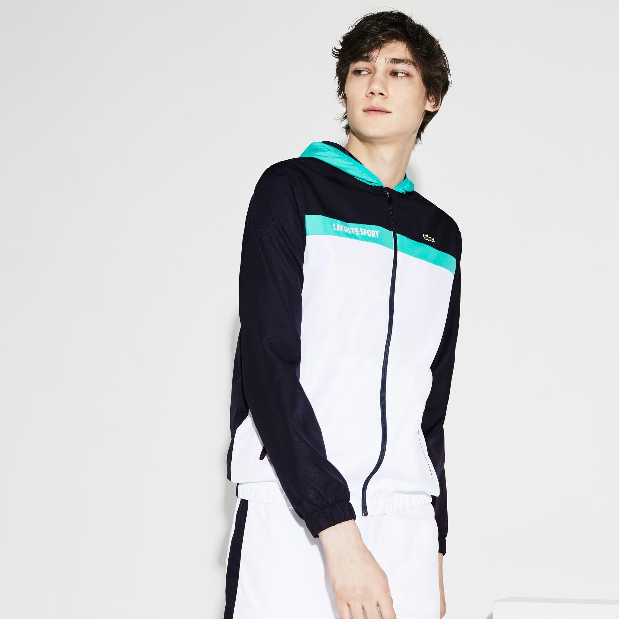 Men's SPORT Hooded Colorblock Taffeta Tennis Jacket