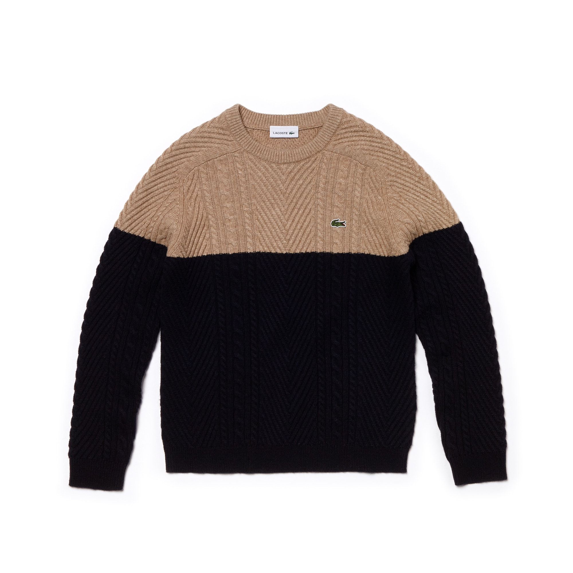 Boys' Crew Neck Cable Knit Cotton Blend Sweater