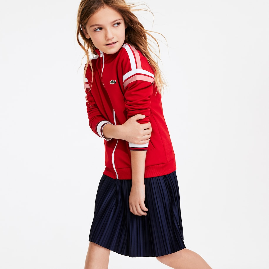 Girls' Striped Band Zippered Sweatshirt