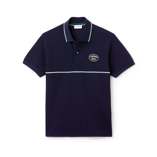 라코스테 Lacoste Mens Regular Fit Striped Accents Petit Pique Polo,Navy Blue / Green / White - BUY (Selected colour)