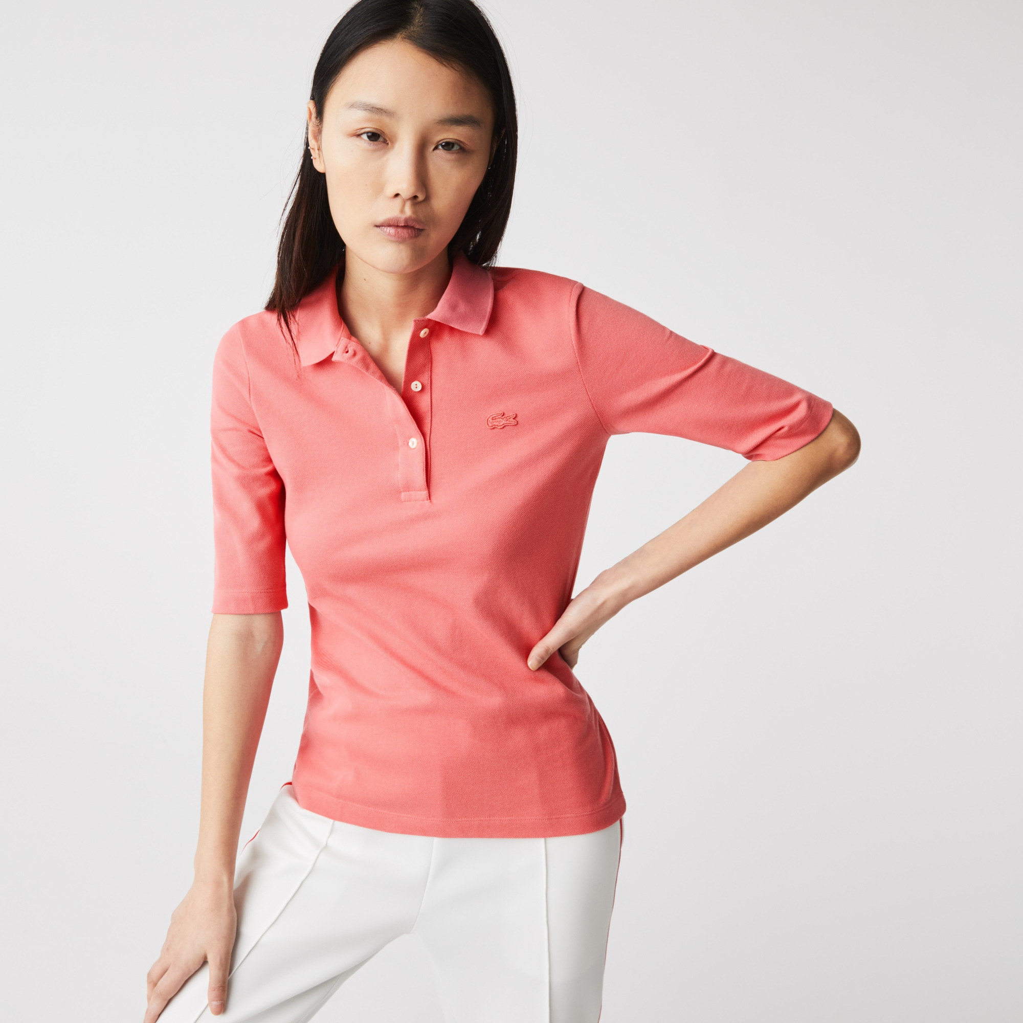 Womens Lacoste Slim Fit Supple Cotton Polo Shirt