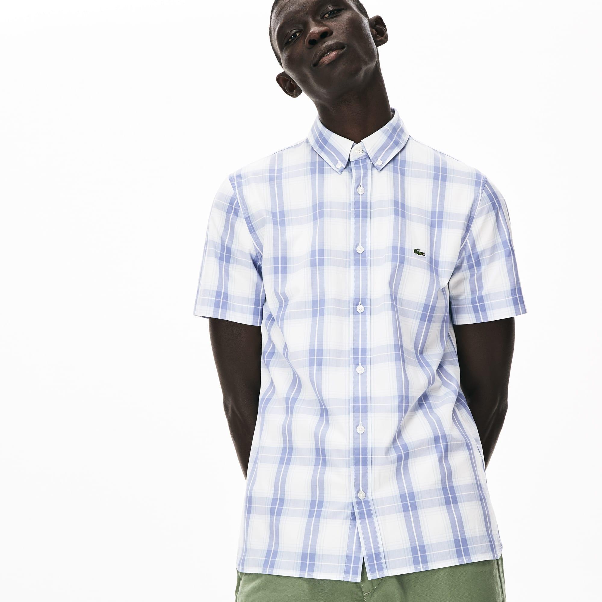 라코스테 Lacoste Mens Slim Fit Short-Sleeve Wool Stretch Shirt,Purple / Light Blue