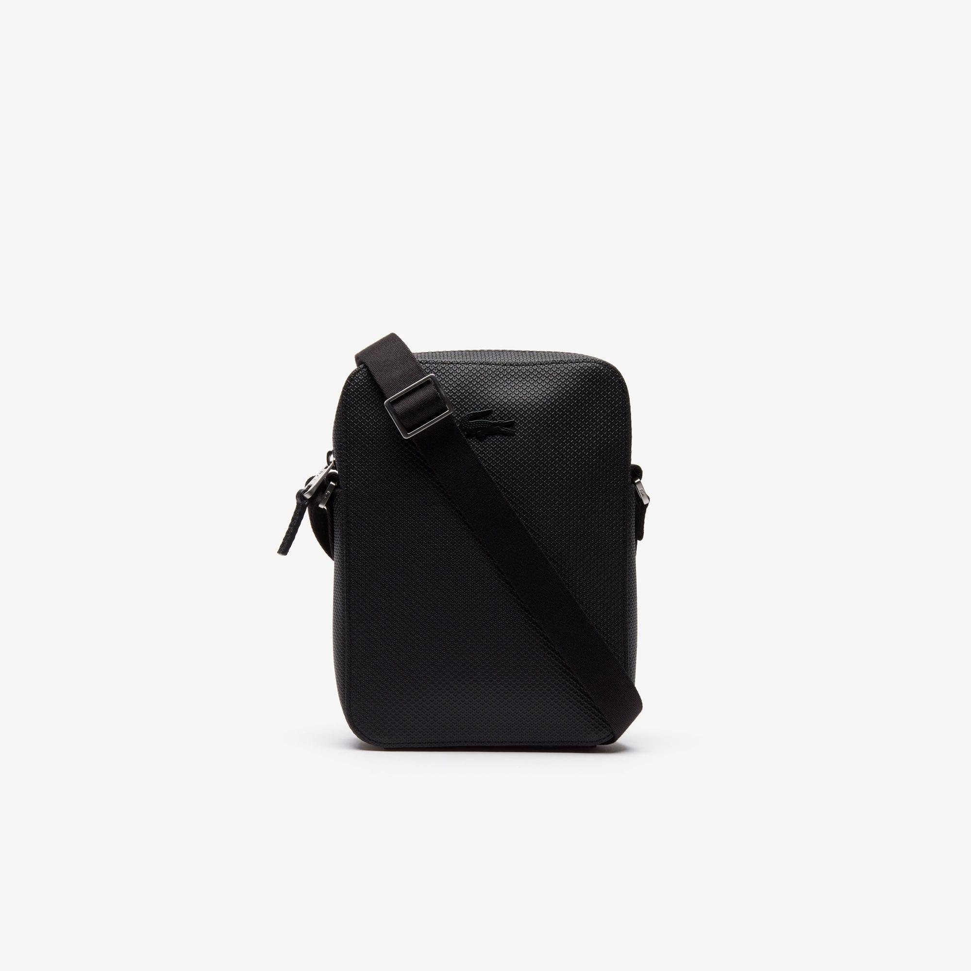 라코스테 Lacoste Mens Chantaco Soft Leather Vertical Zip Bag,black
