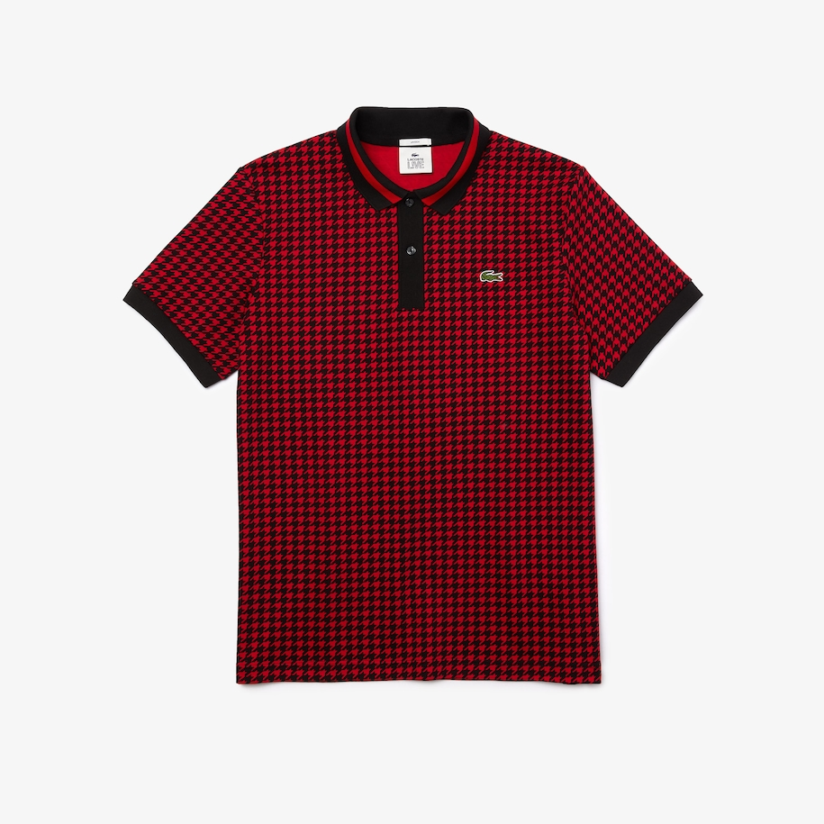 Unisex Lacoste LIVE Standard Fit Houndstooth Motif Cotton Polo Shirt