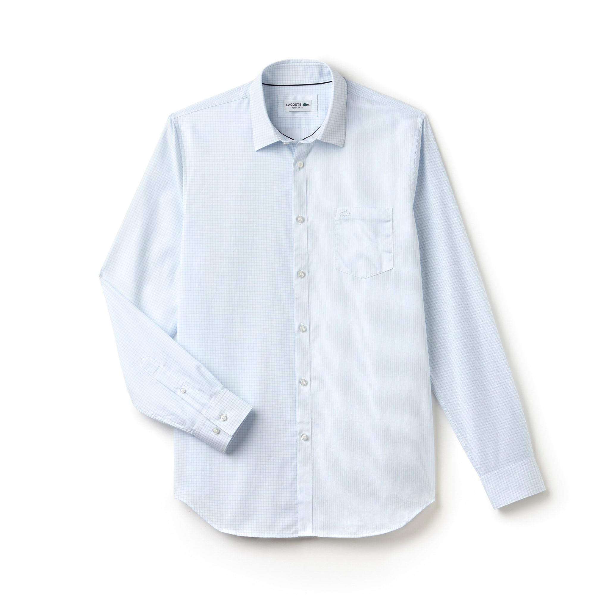 Men's Regular Fit Striped Gingham Cotton Poplin Shirt
