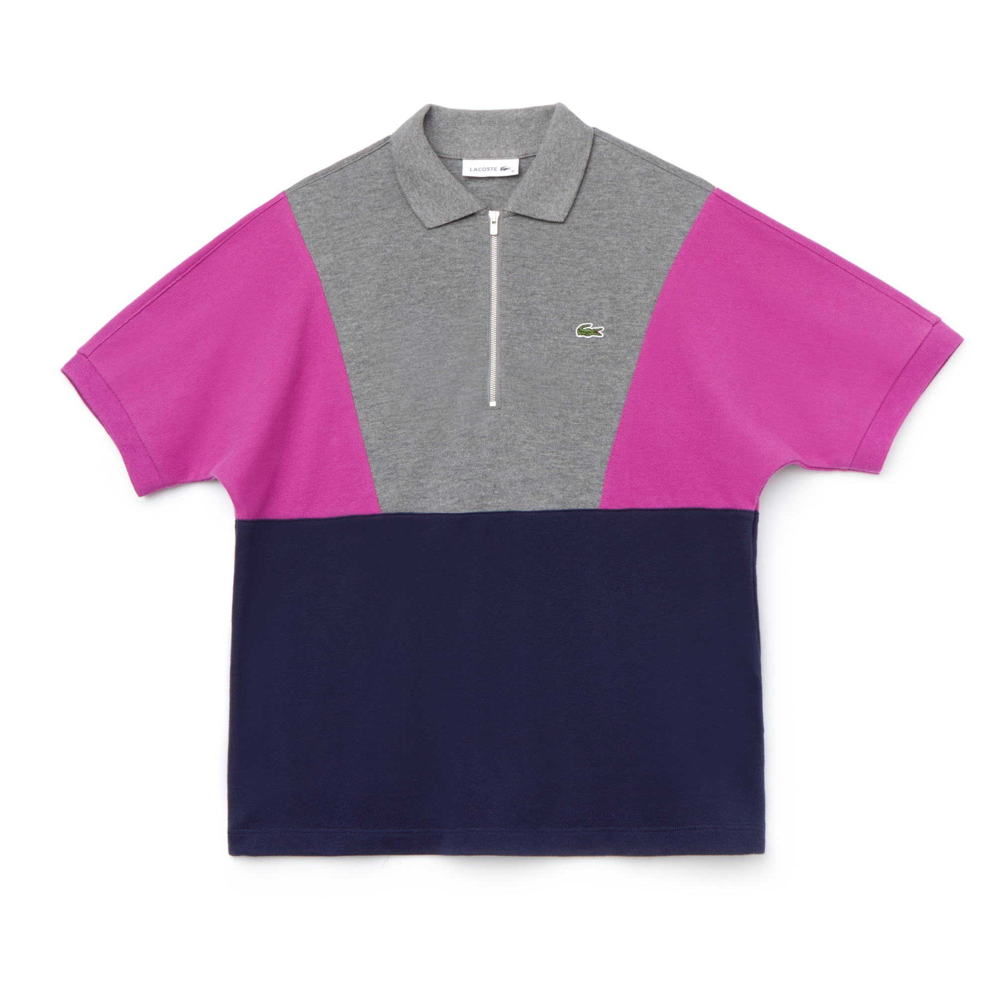 라코스테 Lacoste Womens Zip Neck Colorblock Terrycloth Pique Polo,grey / purple / navy blue