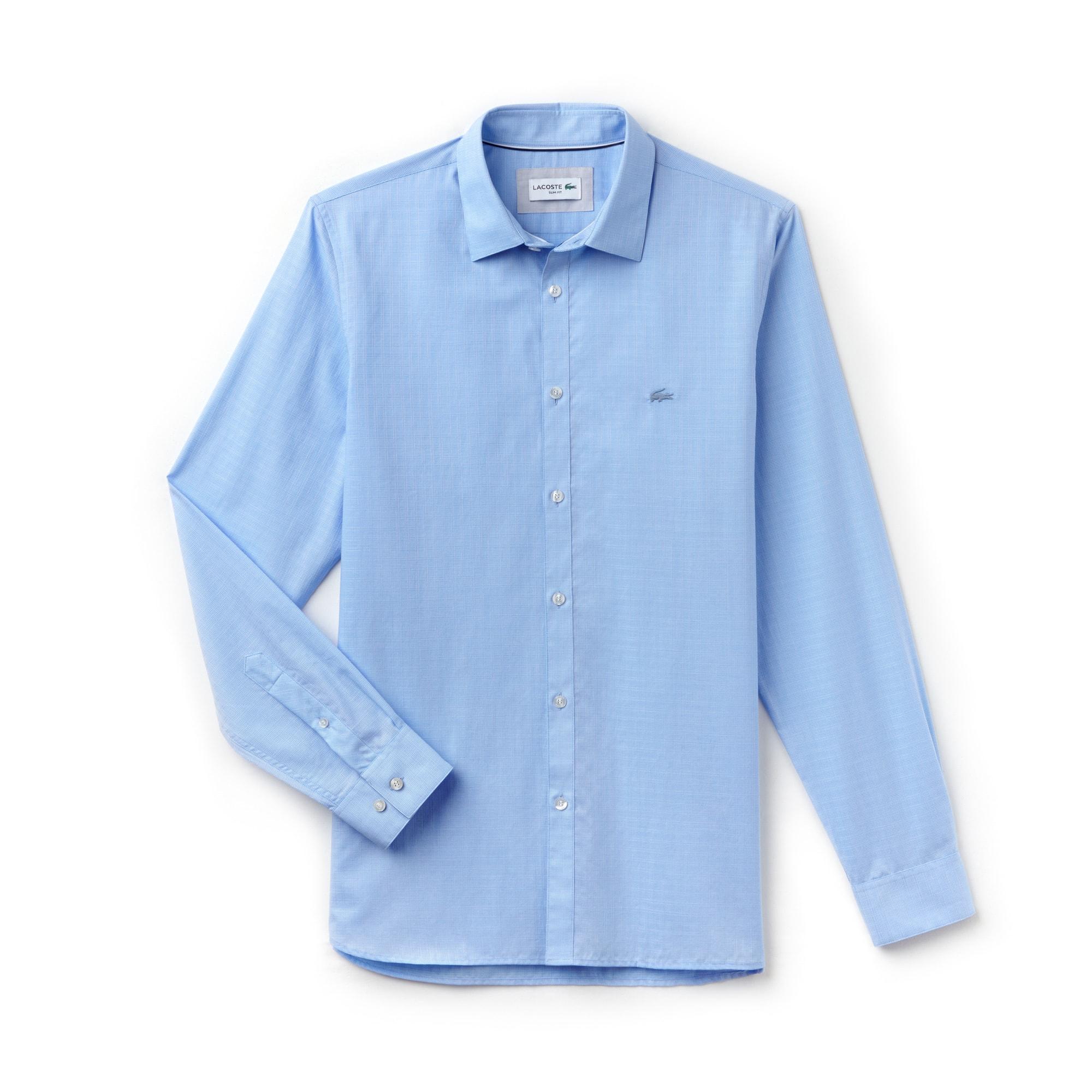 라코스테 Lacoste Mens Slim Fit Jacquard Cotton Poplin Shirt,Light Blue
