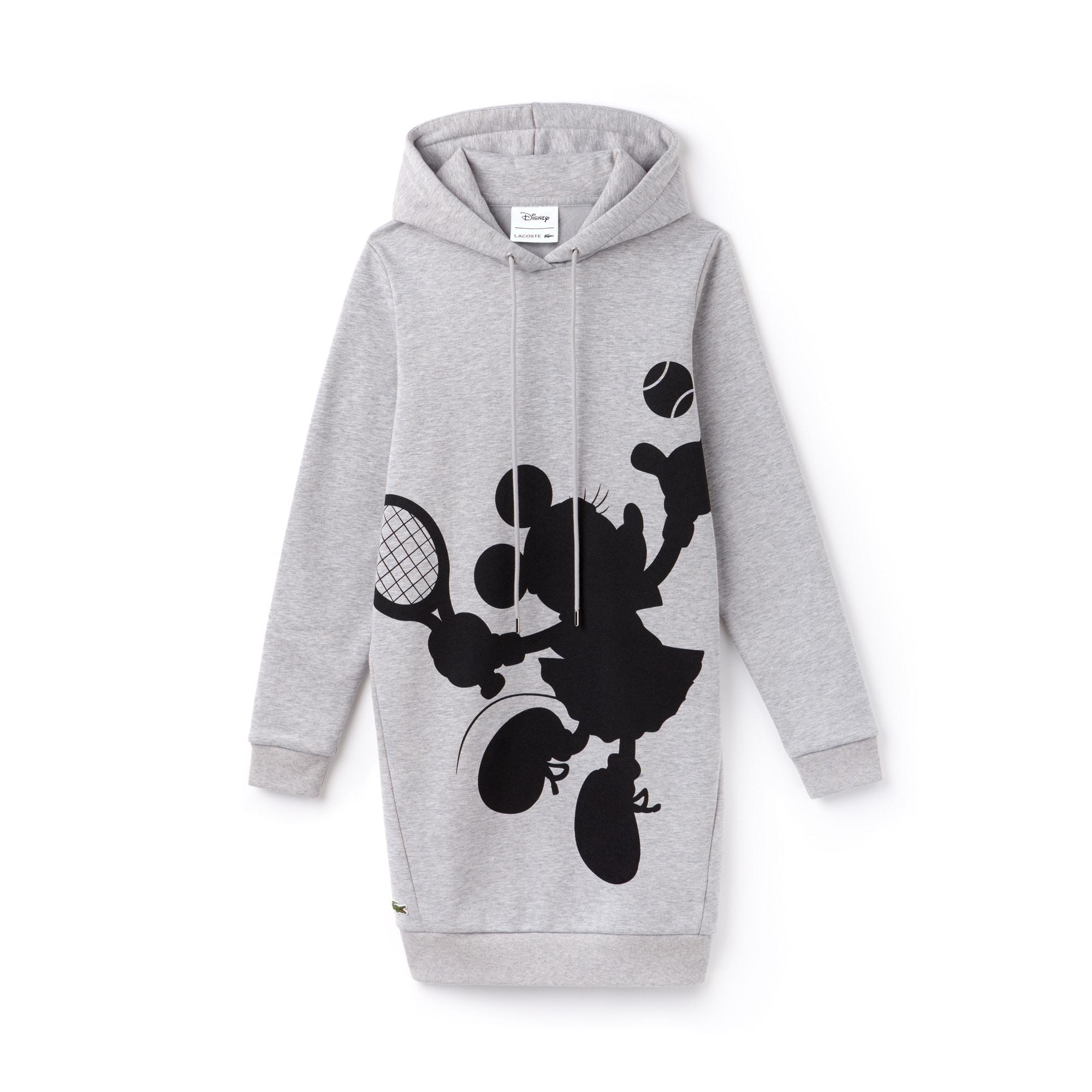 라코스테 Lacoste Womens Hooded 샵디즈니 Disney Minnie Print Fleece Sweatshirt Dress,silver chine