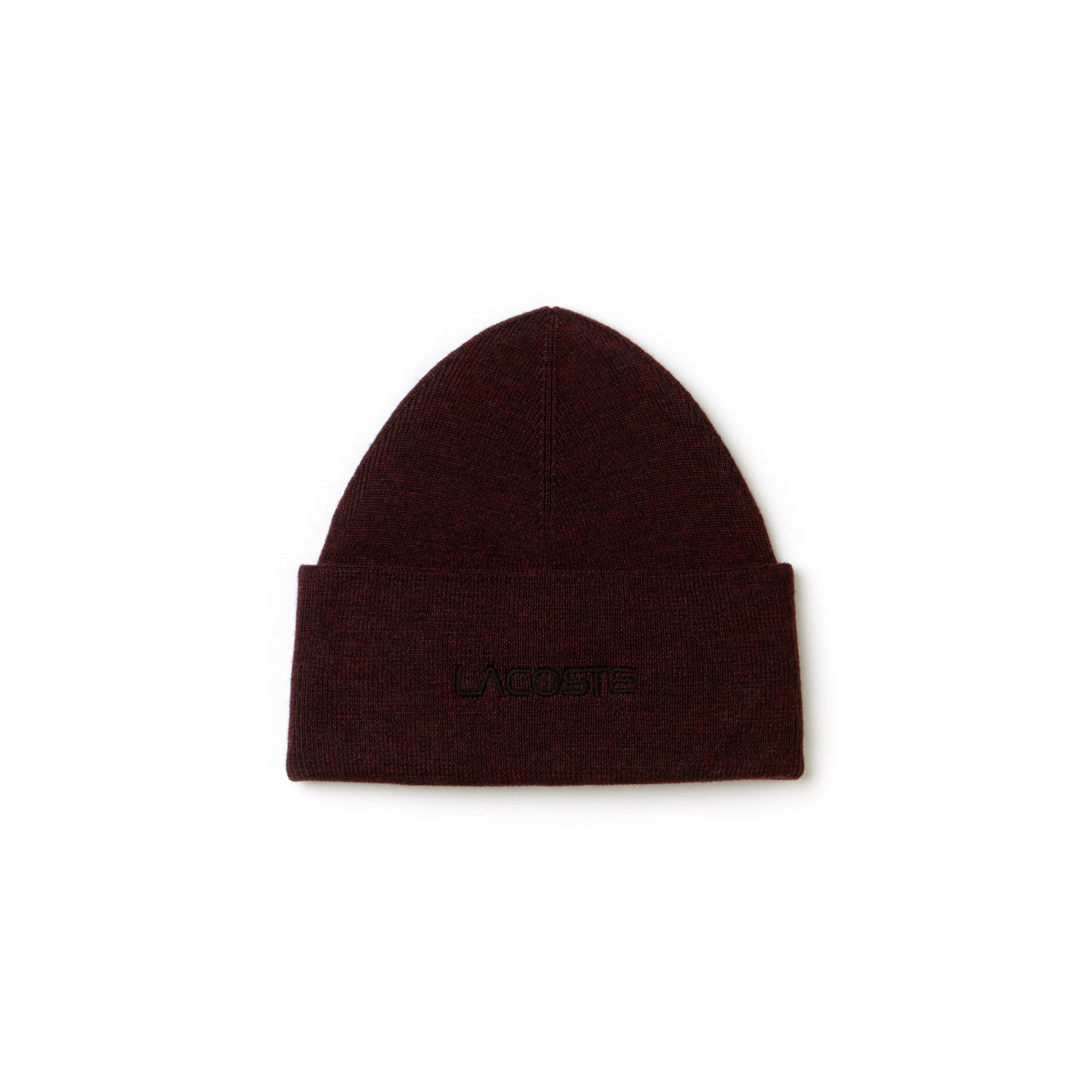 Men's Embroidery Turned Edge Ribbed Wool Beanie