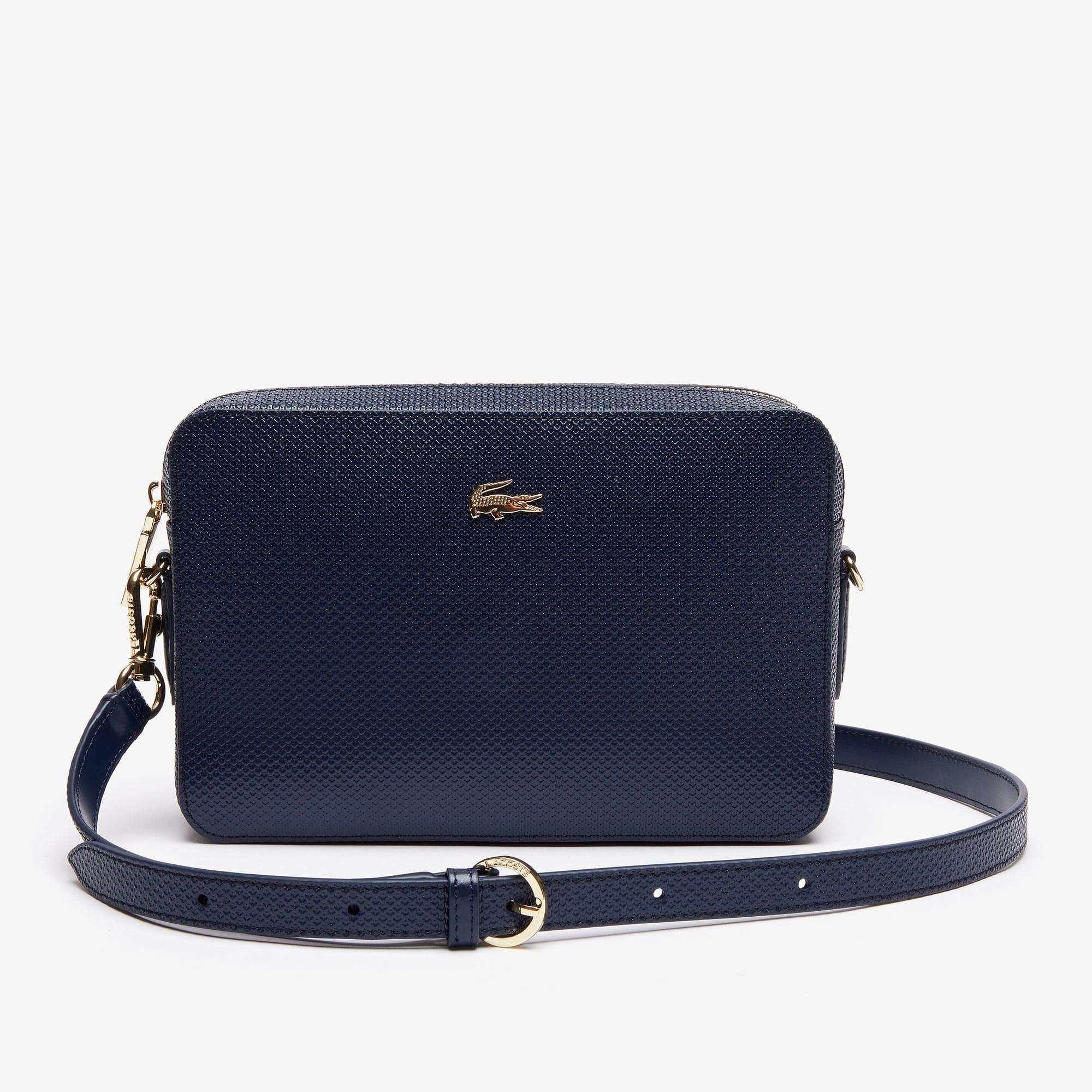 라코스테 Lacoste Womens Chantaco Pique Leather Square Shoulder Bag,peacoat