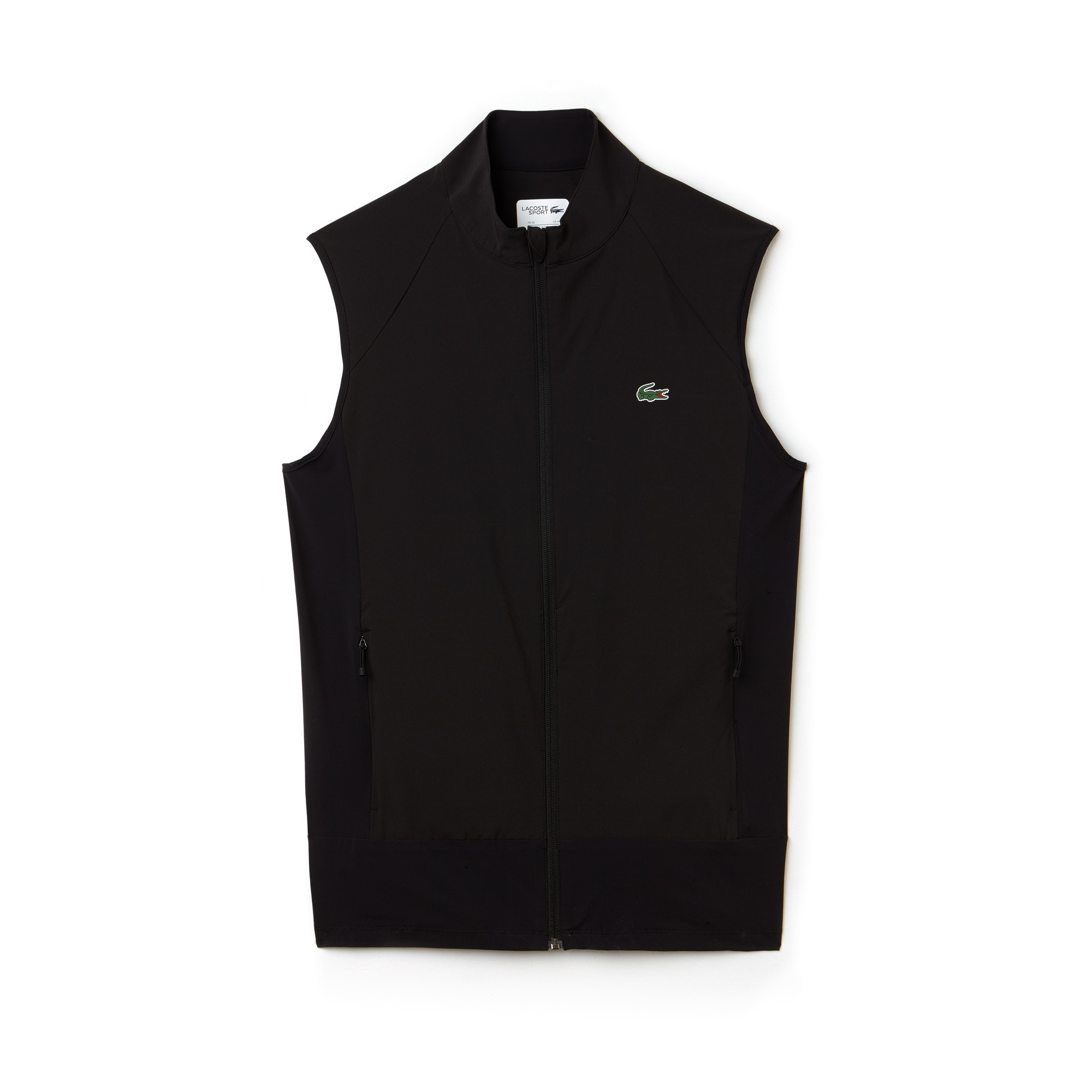 라코스테 스포츠 베스트 Lacoste Mens SPORT Colorblock Technical Taffeta Golf Quilted Vest,black/black