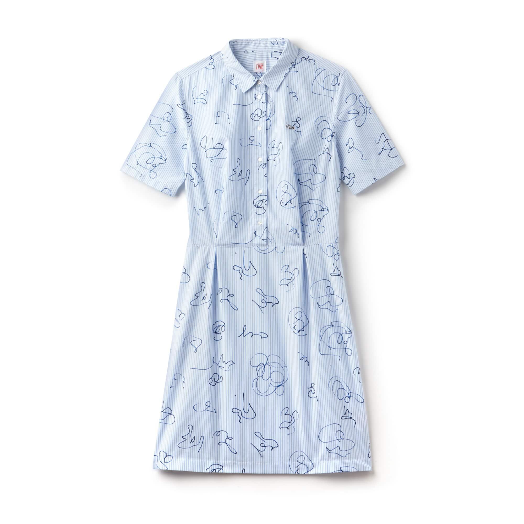 Print Poplin Lacoste Striped Dress Shirt Women's Cotton Live UxtqpwZ