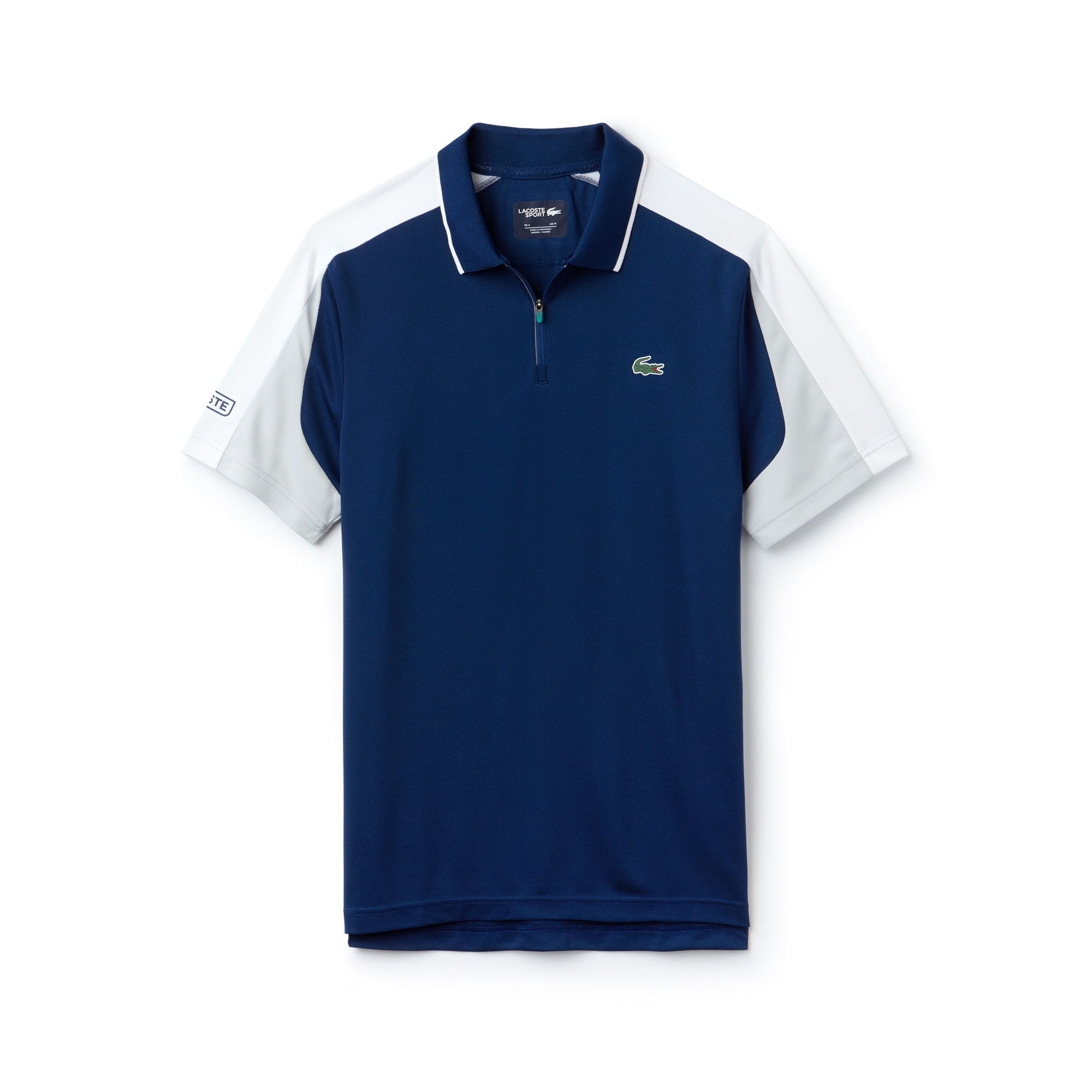 라코스테 Lacoste Mens SPORT Zip Neck Contrast Bands Pique Tennis Polo,inkwell/white-armour-pape