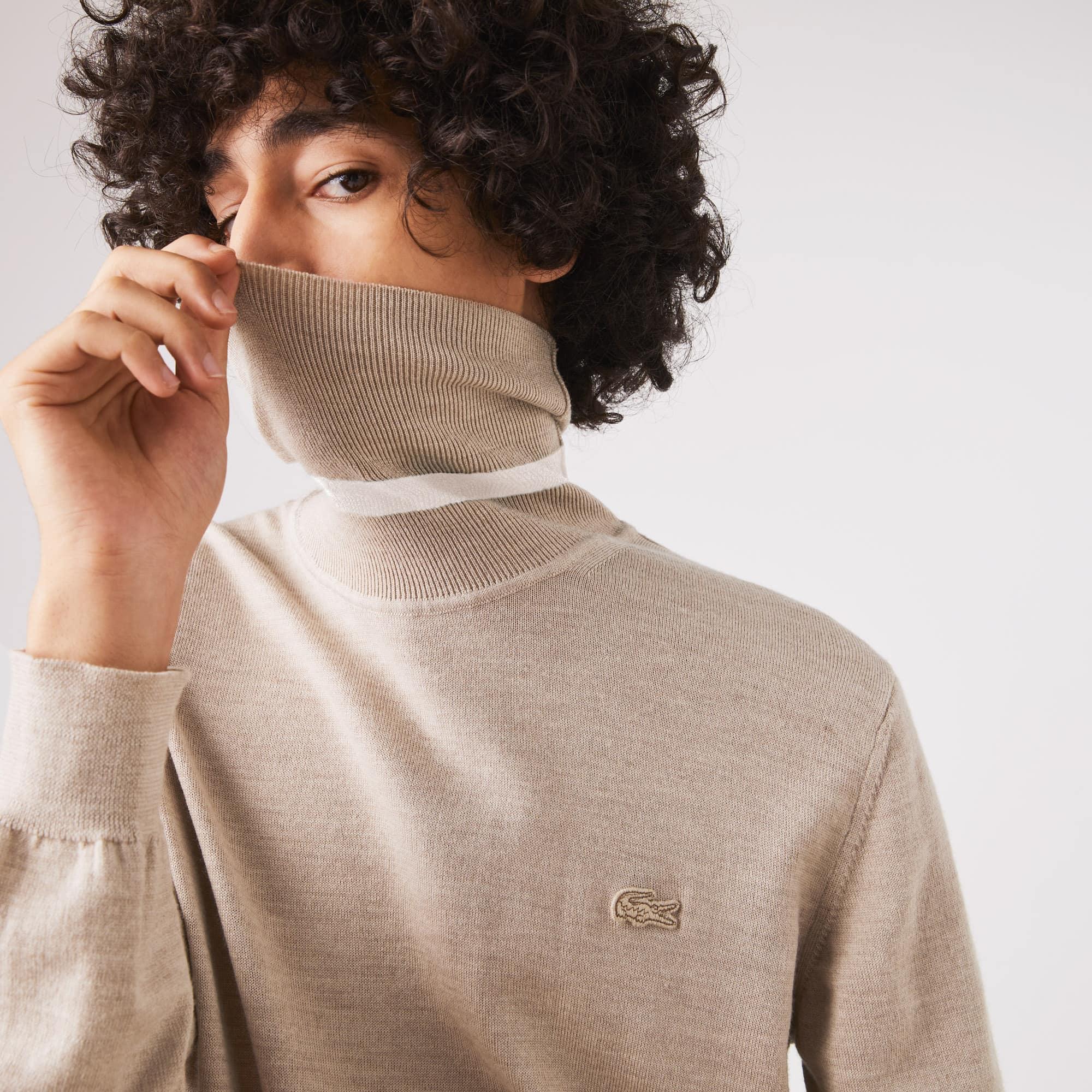 라코스테 Lacoste Mens Turtleneck Merino Wool Sweater,Beige HAB
