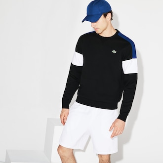 라코스테 스포츠 스웻셔츠 Lacoste Mens SPORT Colorblock Fleece Tennis Sweatshirt,Black / Navy Blue / White