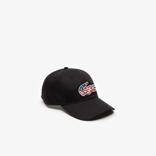라코스테 Lacoste Mens American Flag Croc Cap,Black - 031 (Selected colour)