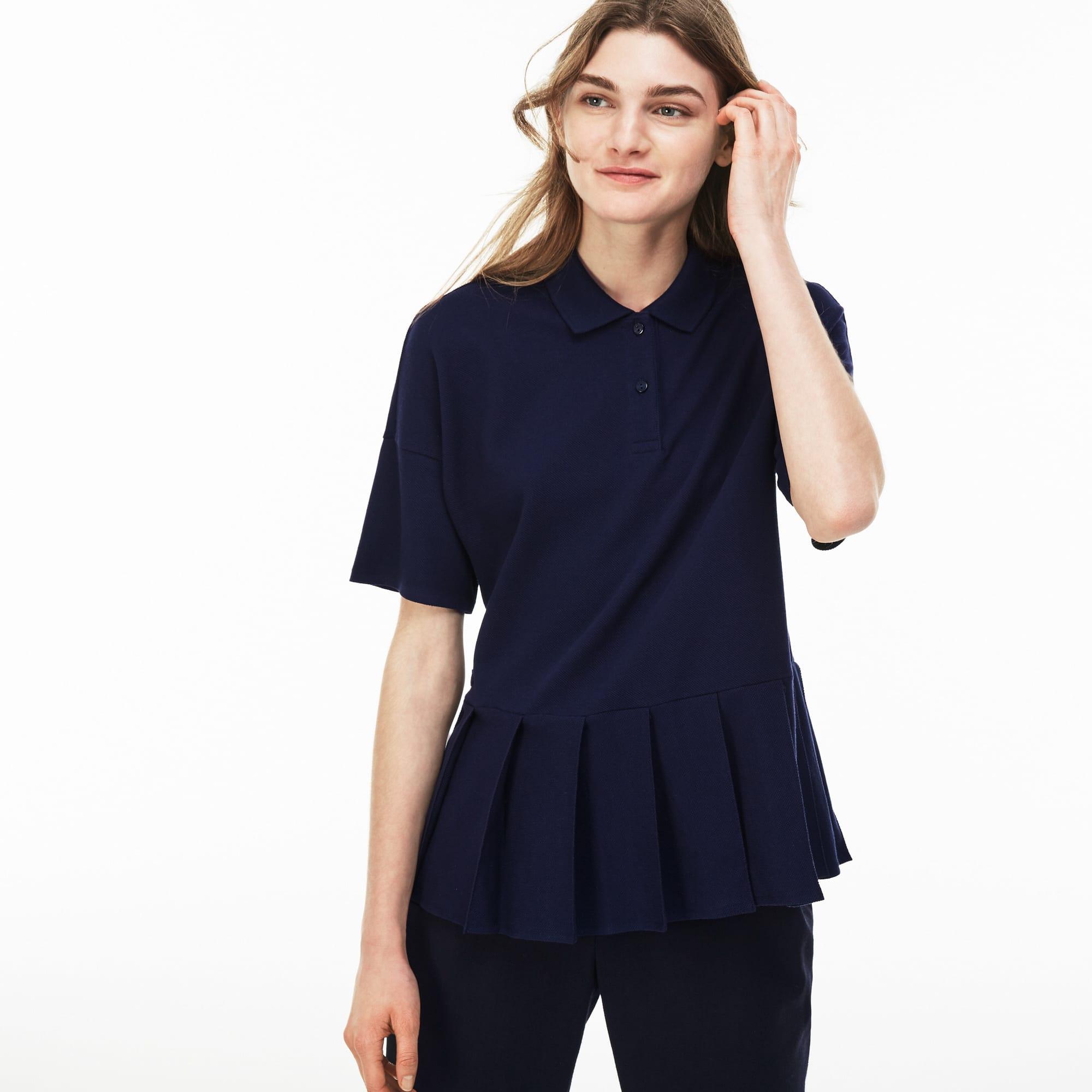 Women's  Pleated Thick Cotton Piqué Polo